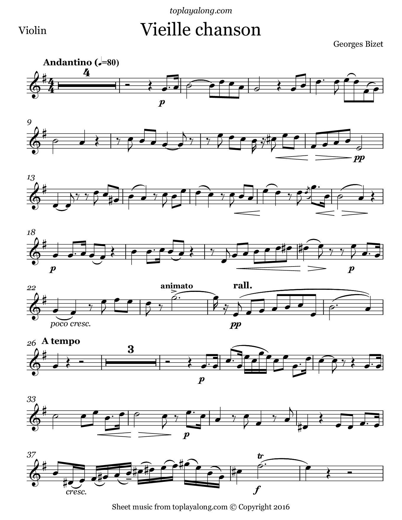 Vieille chanson by Bizet. Sheet music for Violin, page 1.