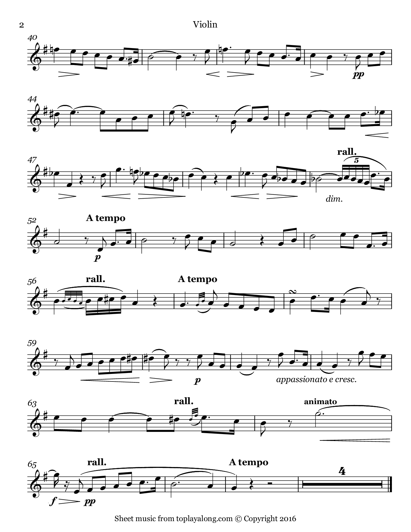 Vieille chanson by Bizet. Sheet music for Violin, page 2.