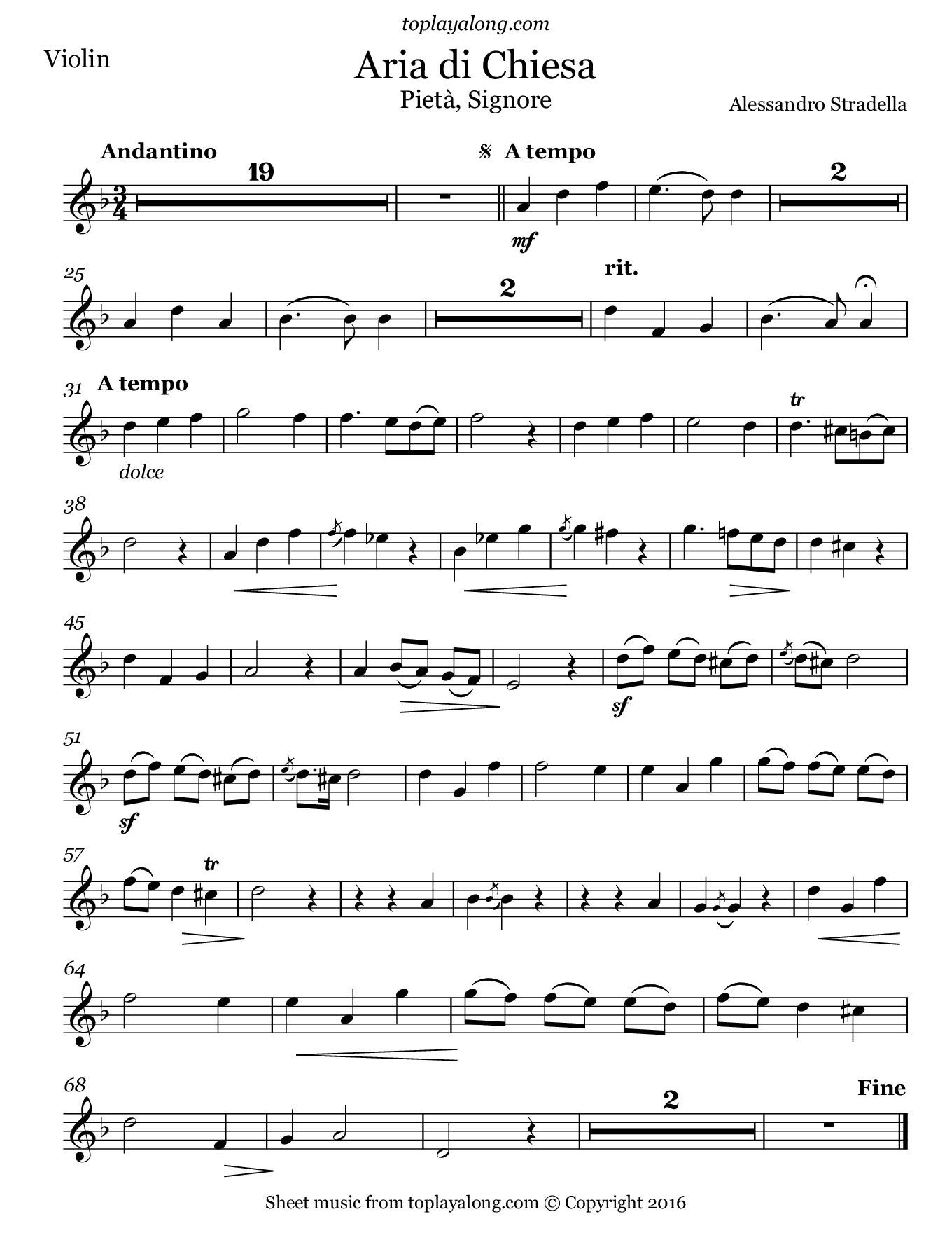 Aria di Chiesa (Pietà, Signore) by Stradella. Sheet music for Violin, page 1.