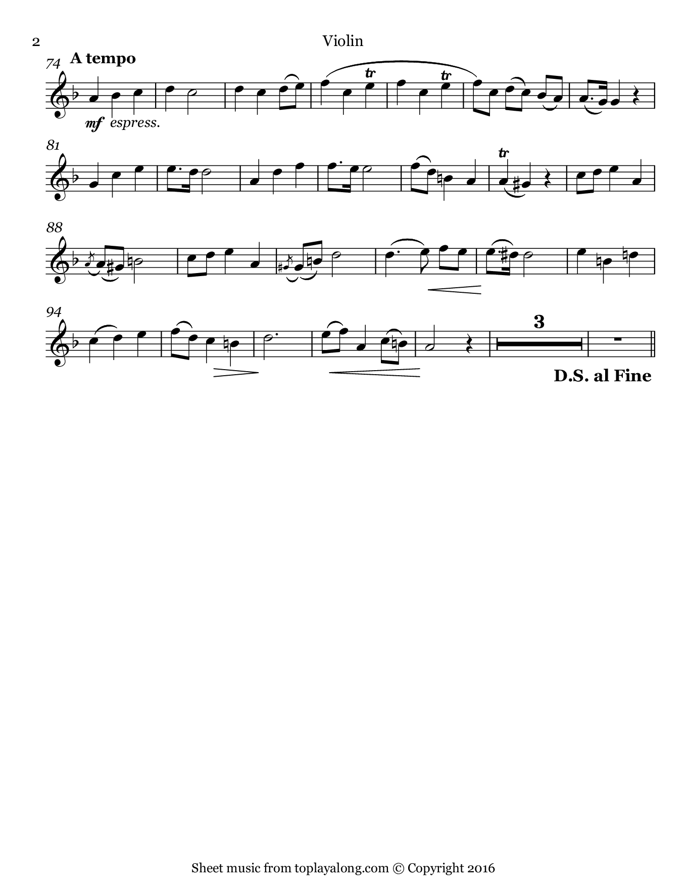 Aria di Chiesa (Pietà, Signore) by Stradella. Sheet music for Violin, page 2.