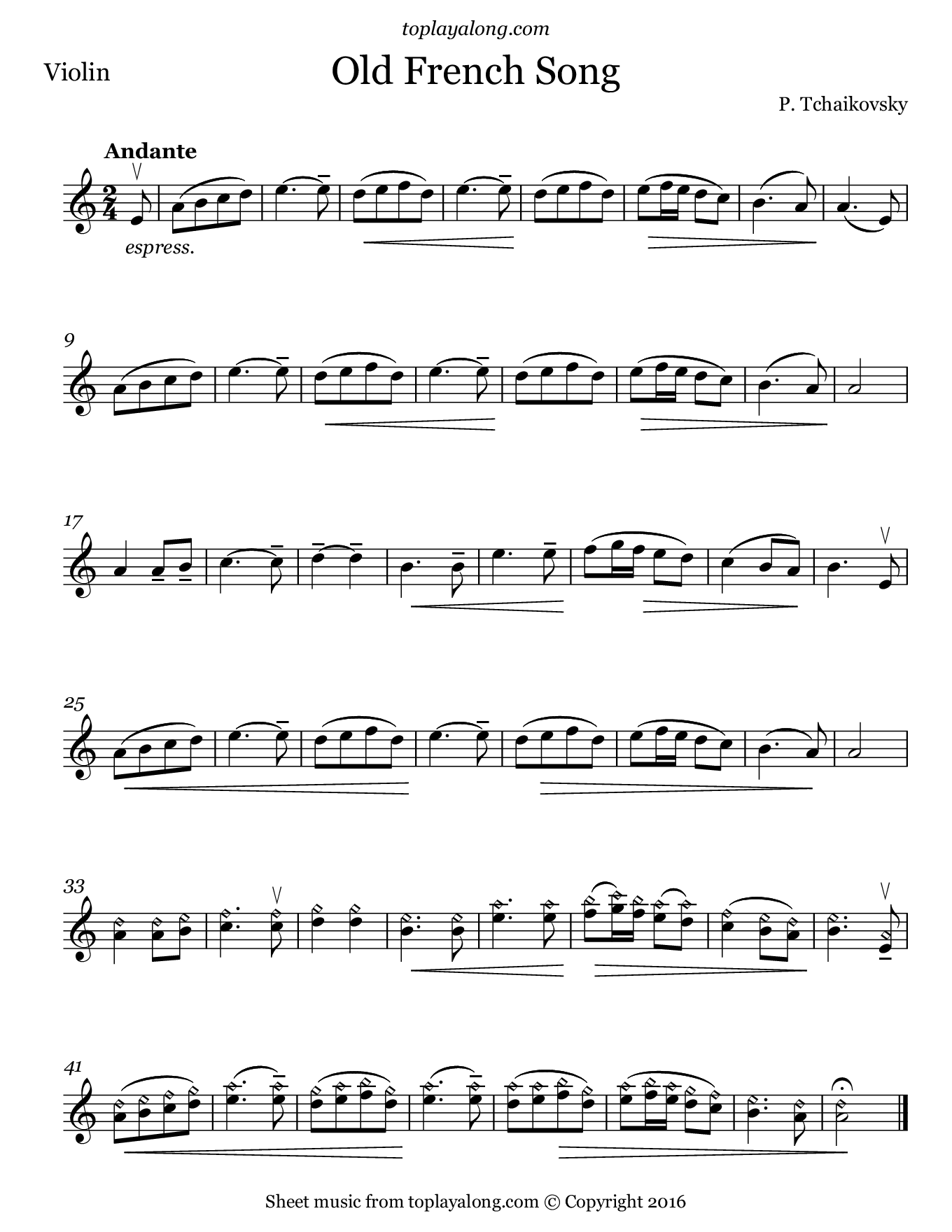 Old French Song by Tchaikovsky. Sheet music for Violin, page 1.