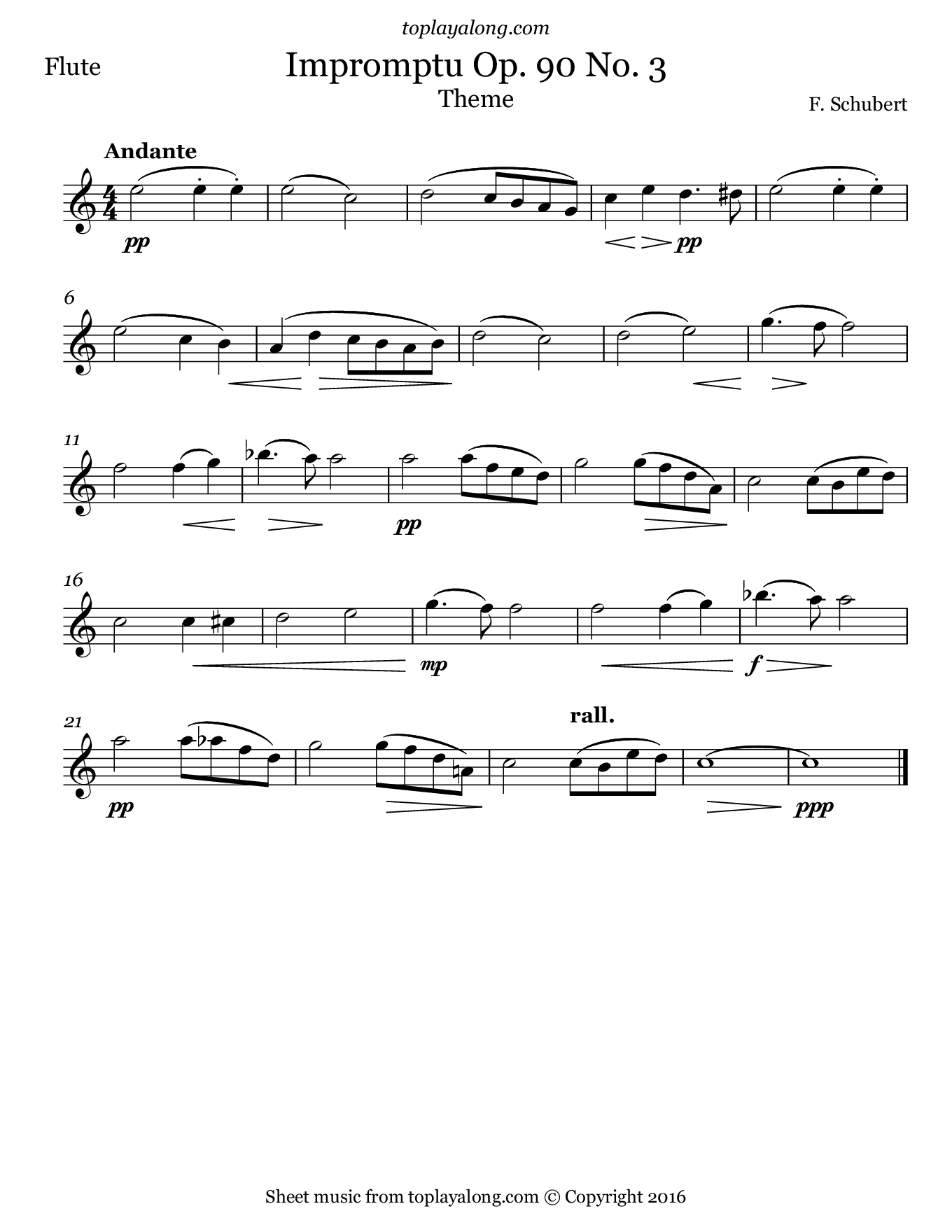 Impromptu Op. 90 No. 3 (Theme) by Schubert. Sheet music for Flute, page 1.
