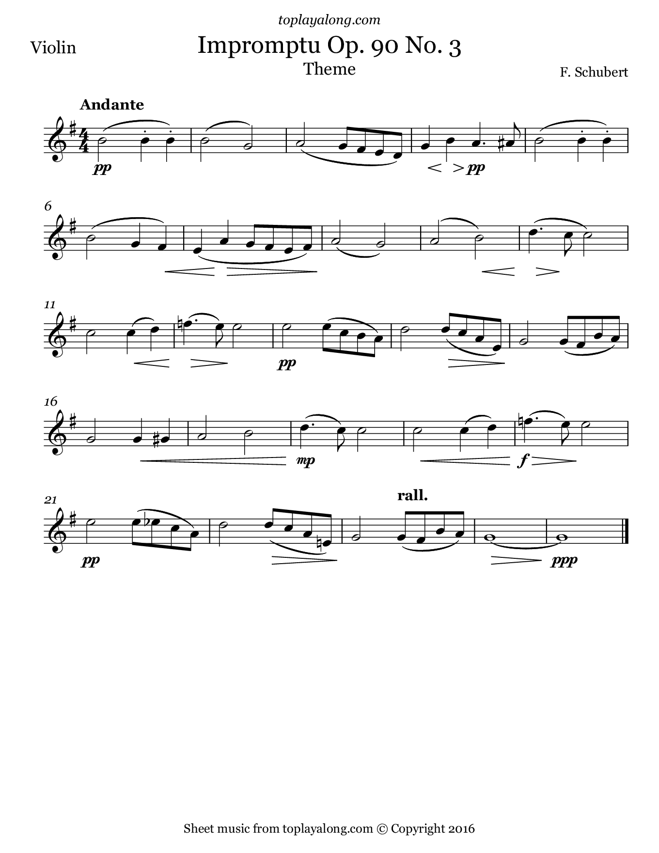 Impromptu Op. 90 No. 3 (Theme) by Schubert. Sheet music for Violin, page 1.