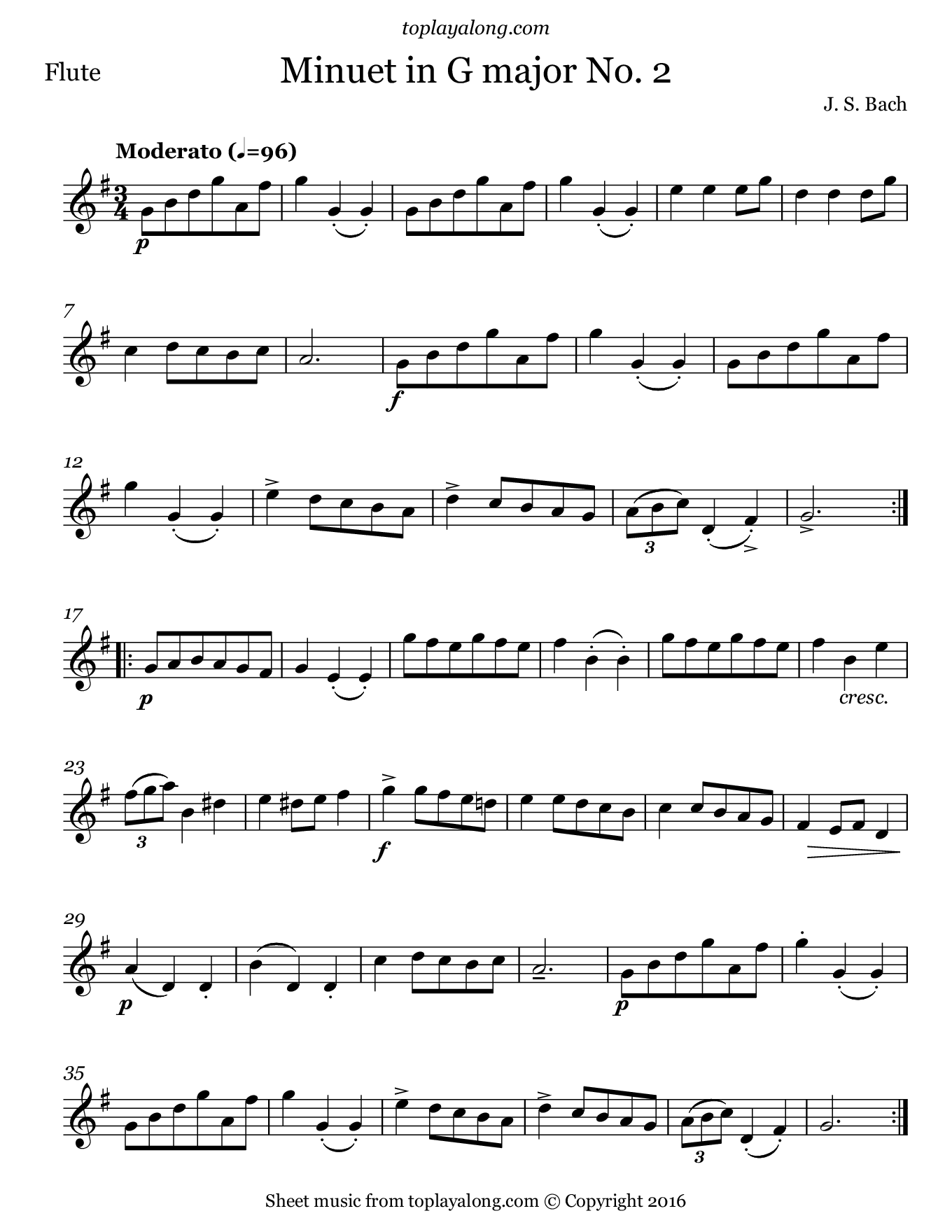 Minuet in G major No. 2 by J. S. Bach. Sheet music for Flute, page 1.