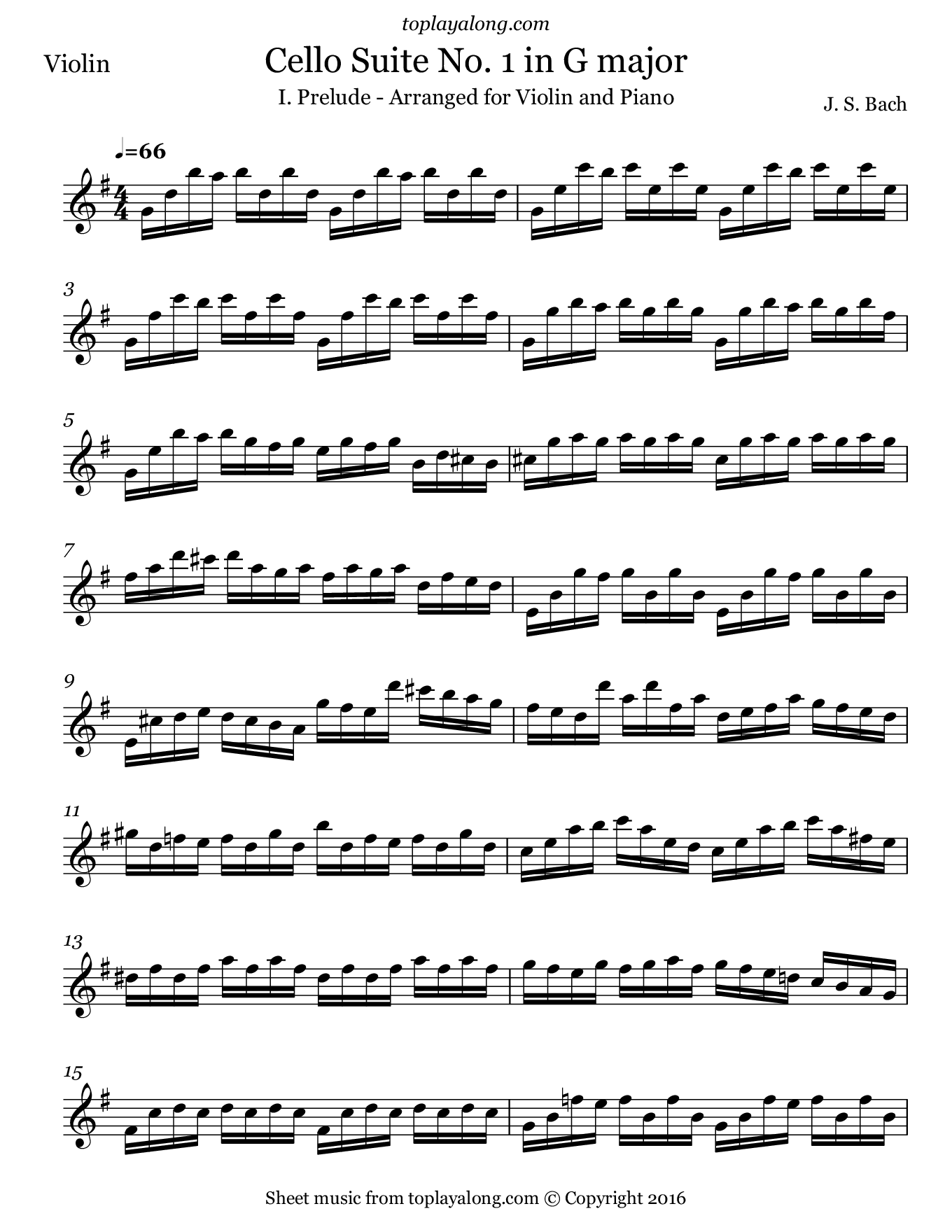 Cello Suite No. 1 in G (BWV 1007) by J. S. Bach. Sheet music for Violin, page 1.