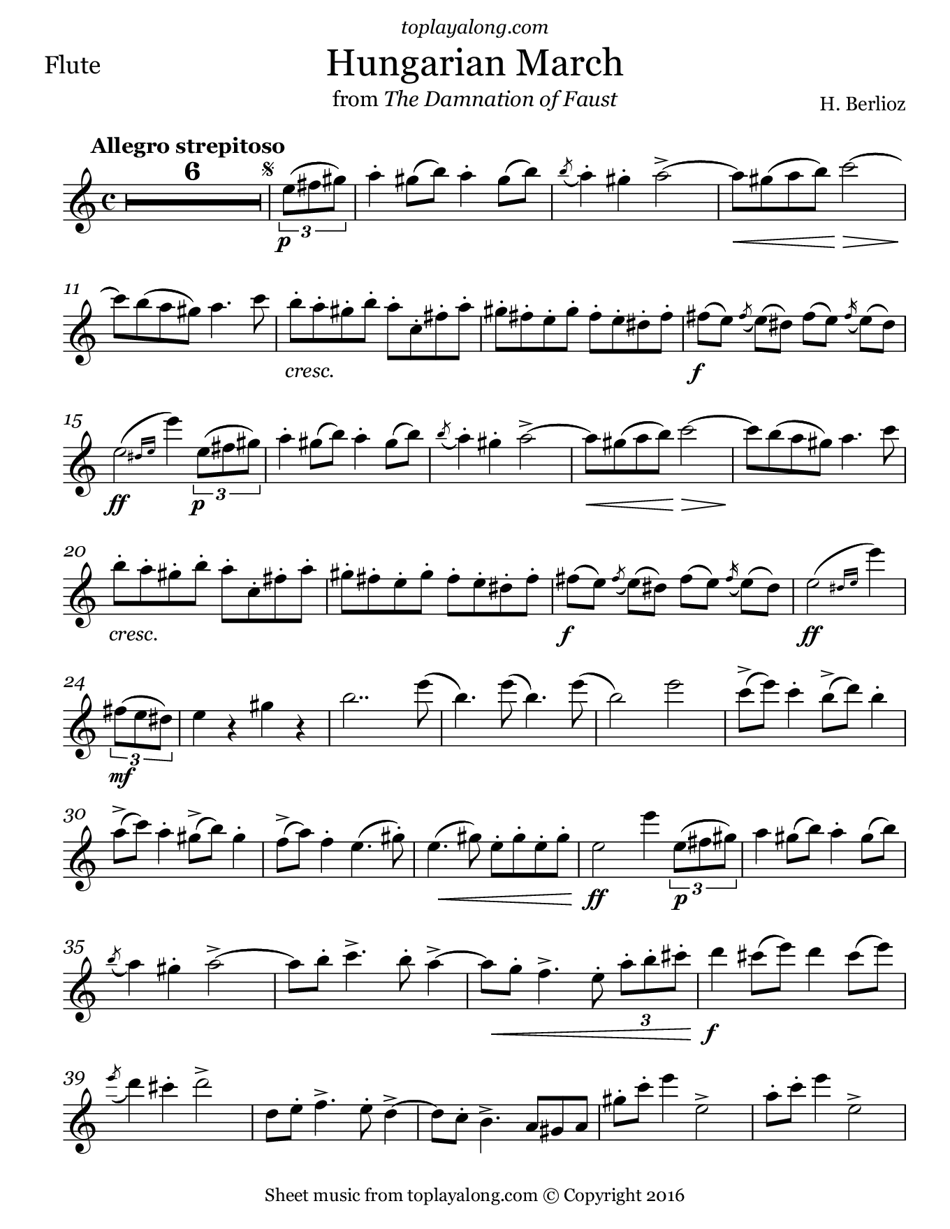 Hungarian March from Faust by Berlioz. Sheet music for Flute, page 1.