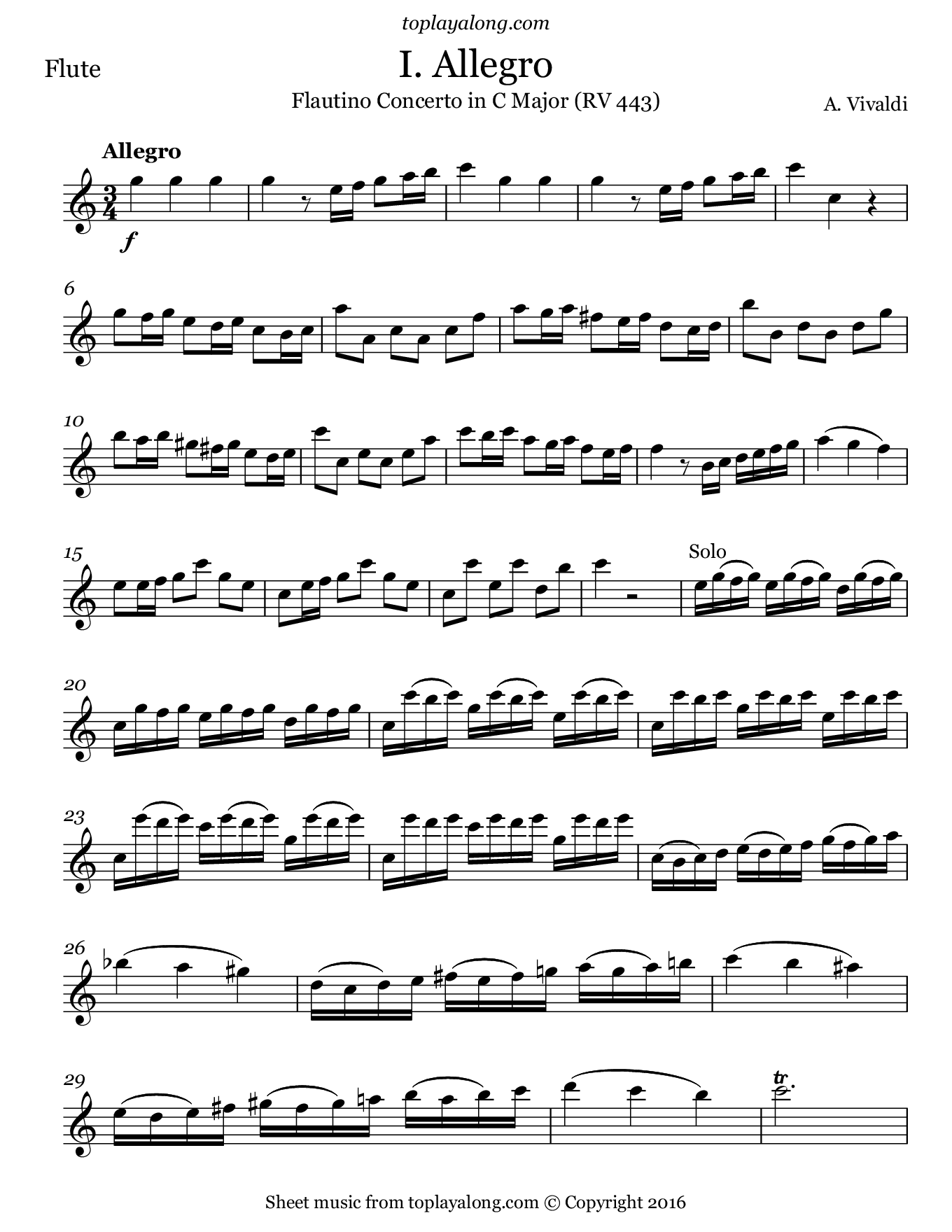 Flautino Concerto in C major RV 443 (I. Allegro) by Vivaldi. Sheet music for Flute, page 1.