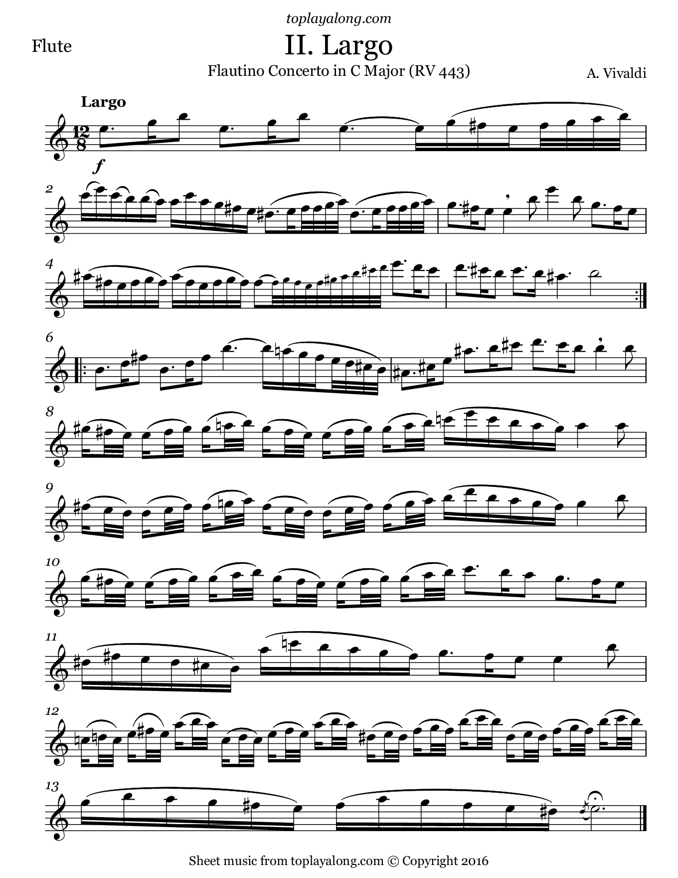 Flautino Concerto in C major RV 443 (II. Largo) by Vivaldi. Sheet music for Flute, page 1.