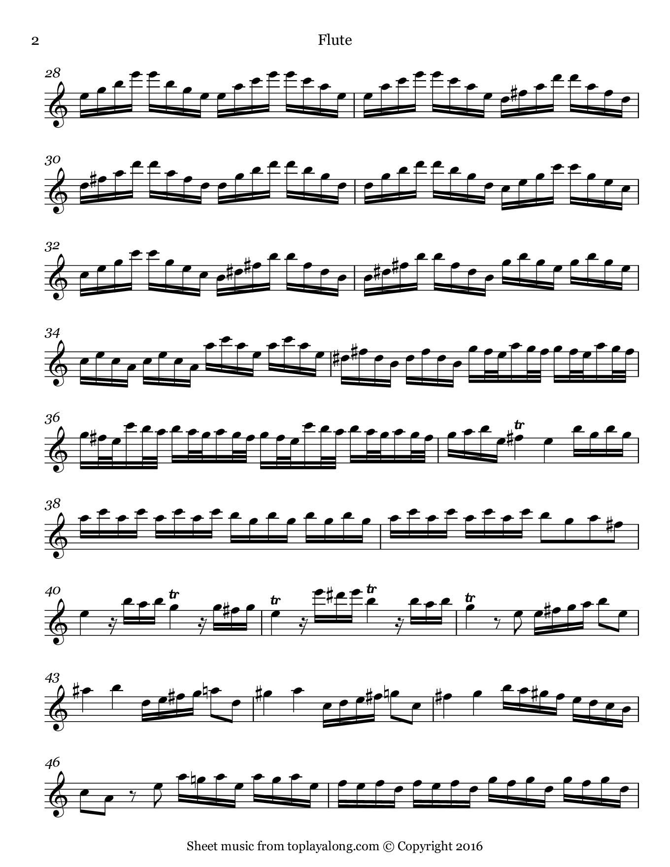 Flautino Concerto in C major RV 443 (III. Allegro molto) by Vivaldi. Sheet music for Flute, page 2.