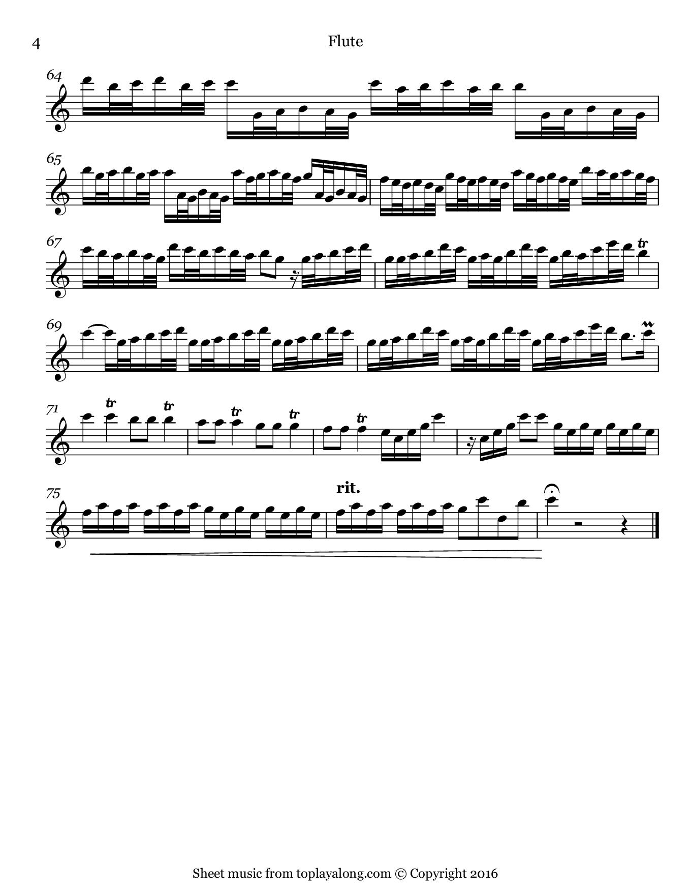 Flautino Concerto in C major RV 443 (III. Allegro molto) by Vivaldi. Sheet music for Flute, page 4.
