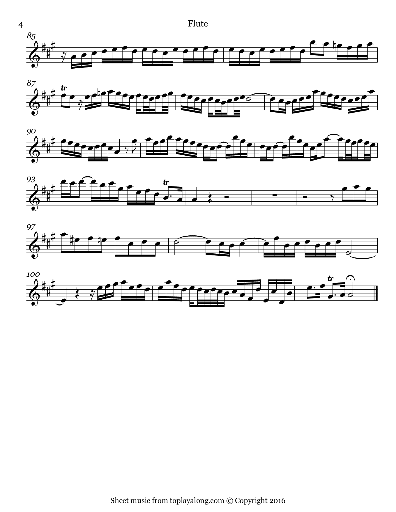 Flute Sonata in A major BWV 1032 (I. Vivace) by J. S. Bach. Sheet music for Flute, page 4.