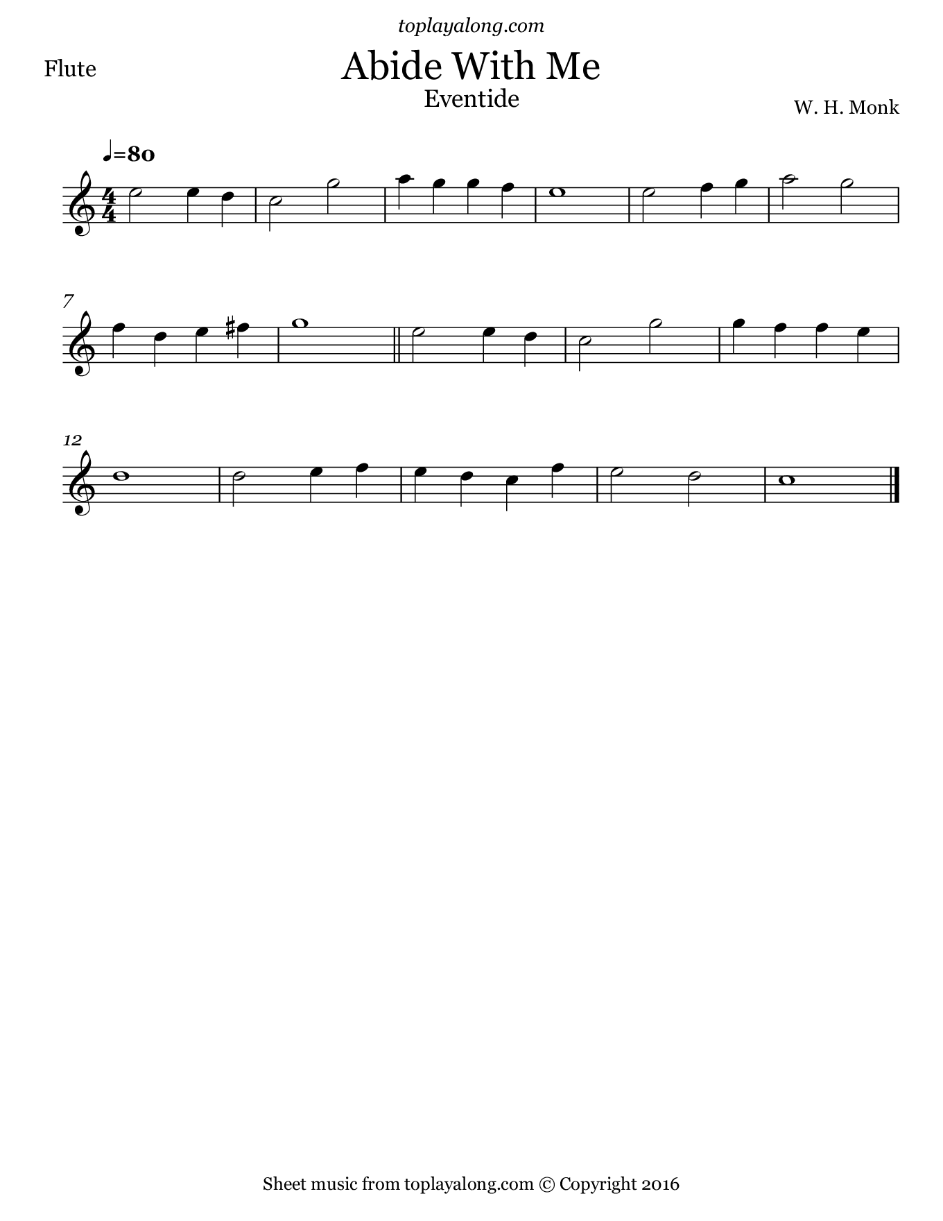Abide With Me (Eventide). Sheet music for Flute, page 1.