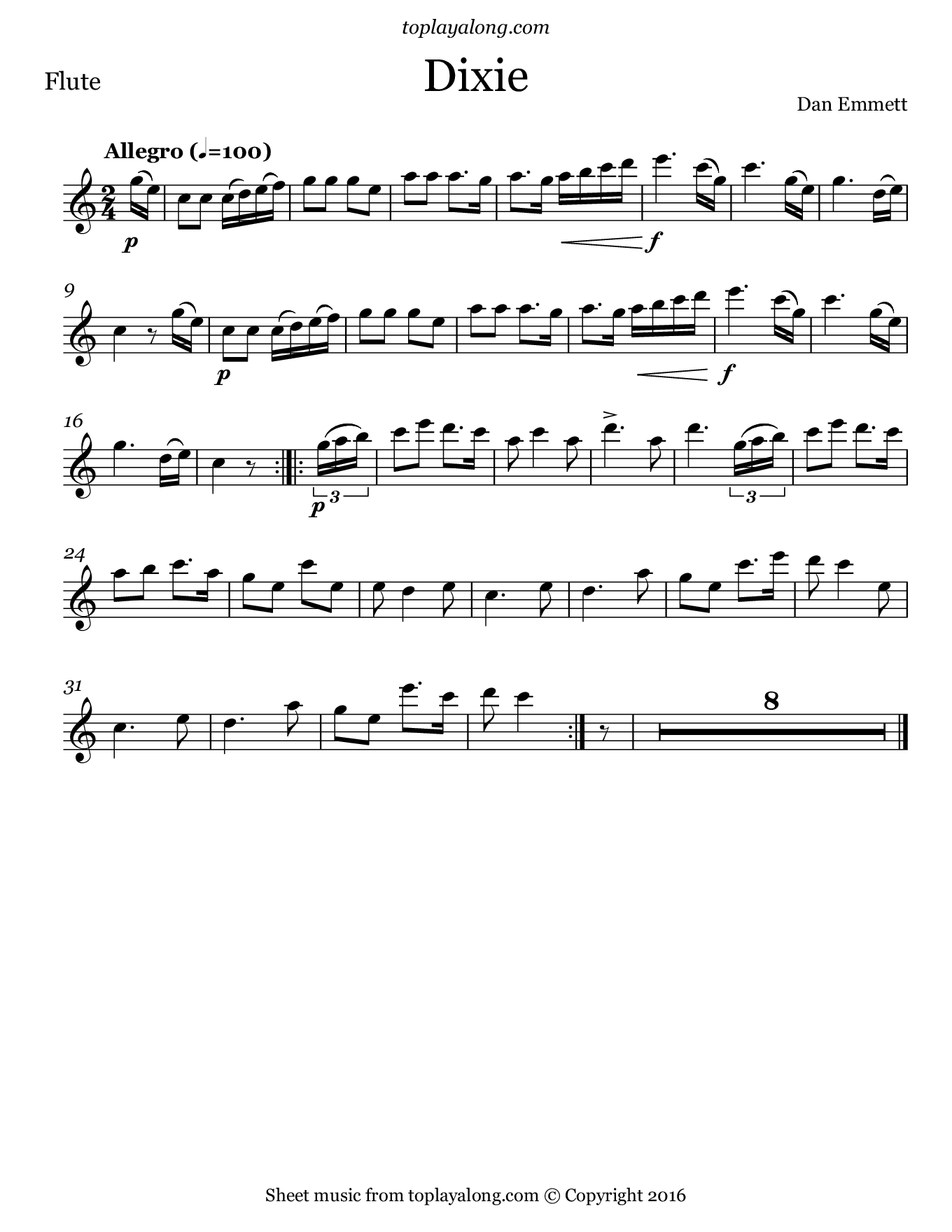 Dixie. Sheet music for Flute, page 1.