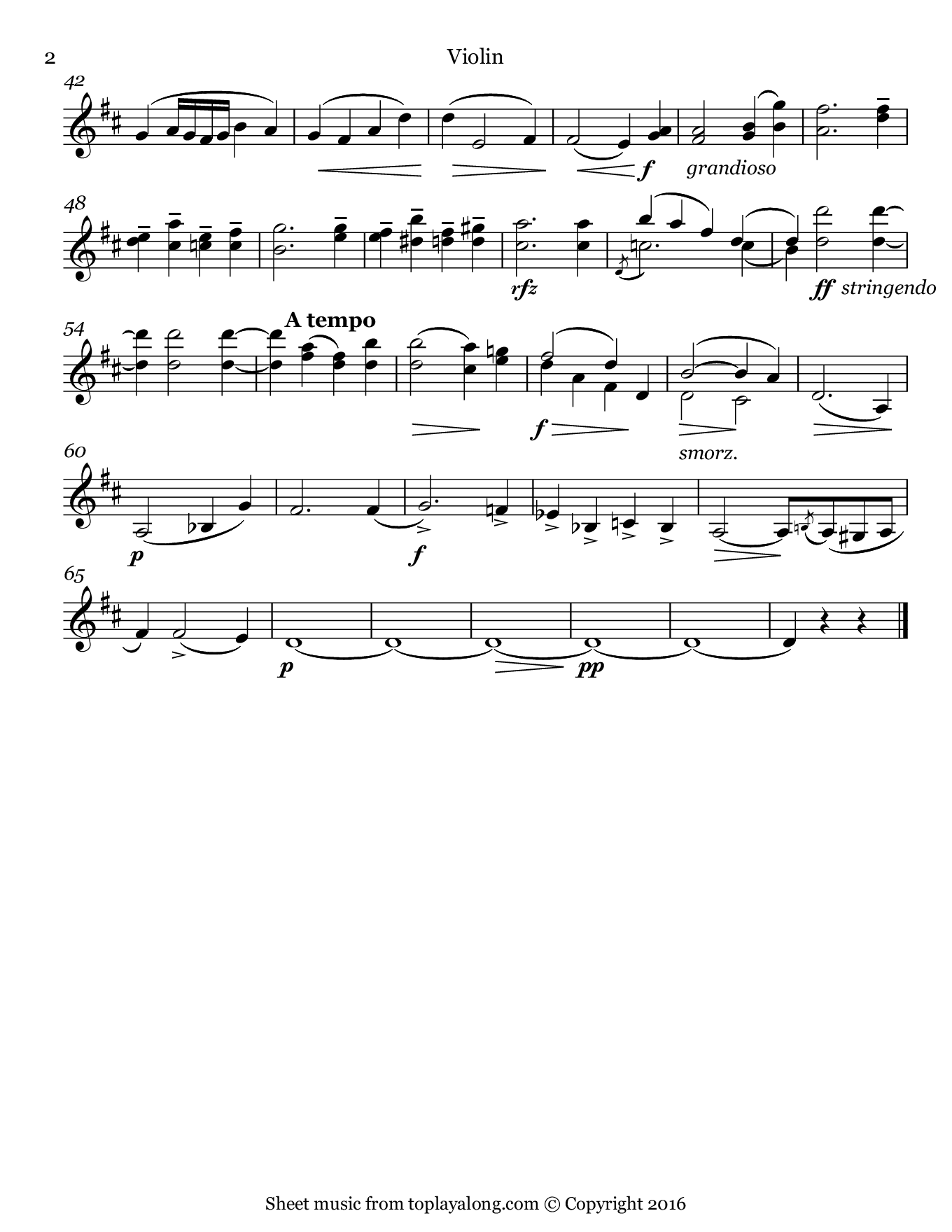Cavatina by Raff. Sheet music for Violin, page 2.