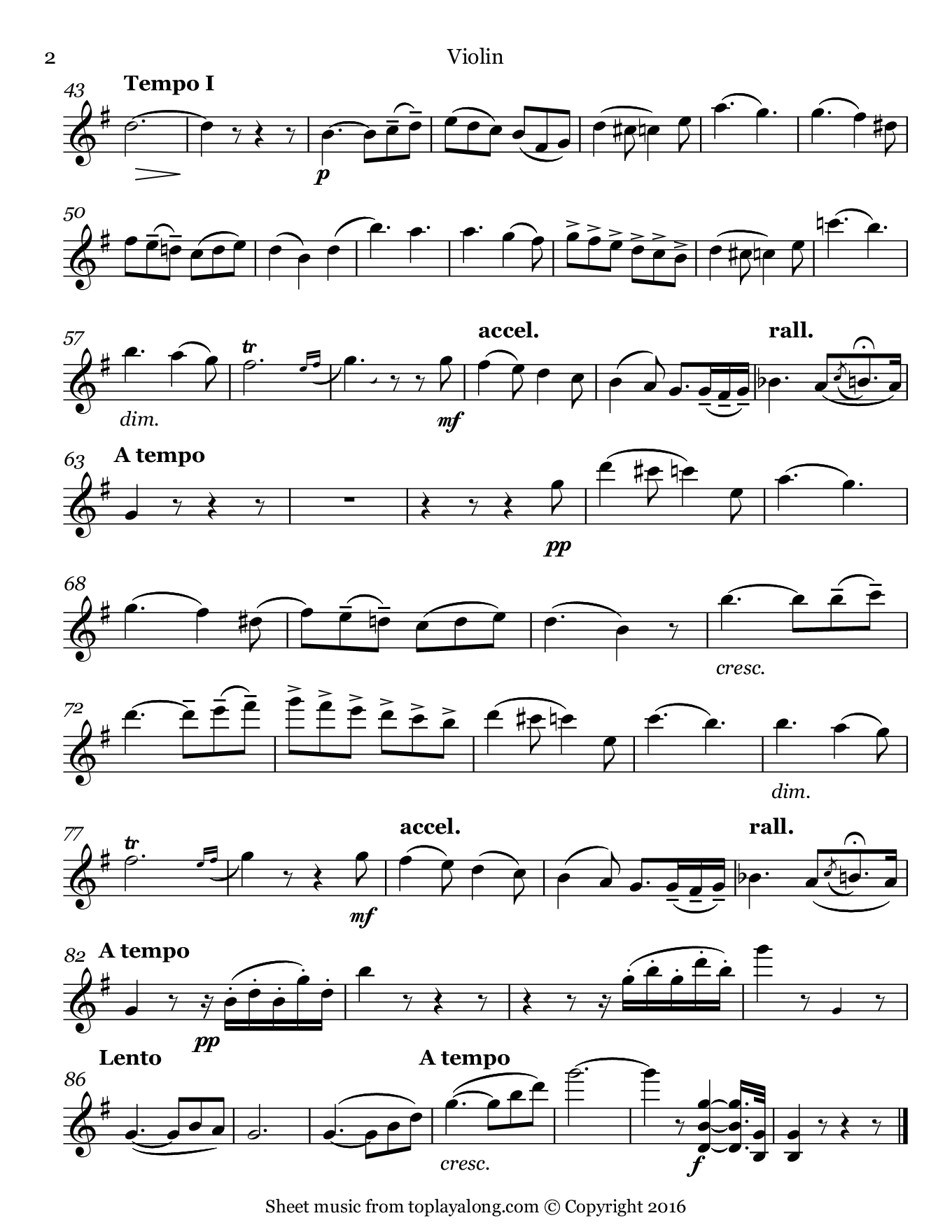 La seranata (Angel's Serenade) by Braga. Sheet music for Violin, page 2.