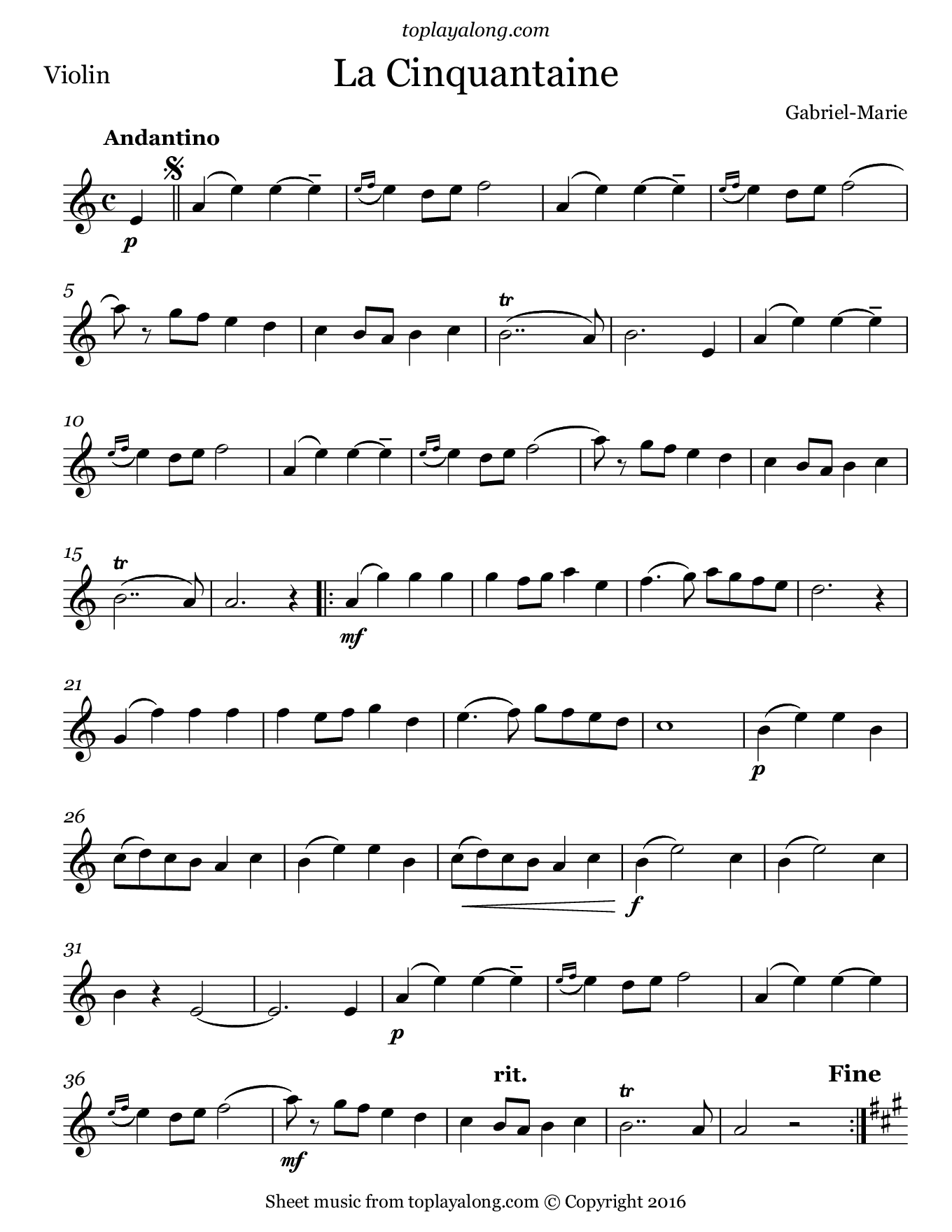 La Cinquantaine by Gabriel-Marie. Sheet music for Violin, page 1.