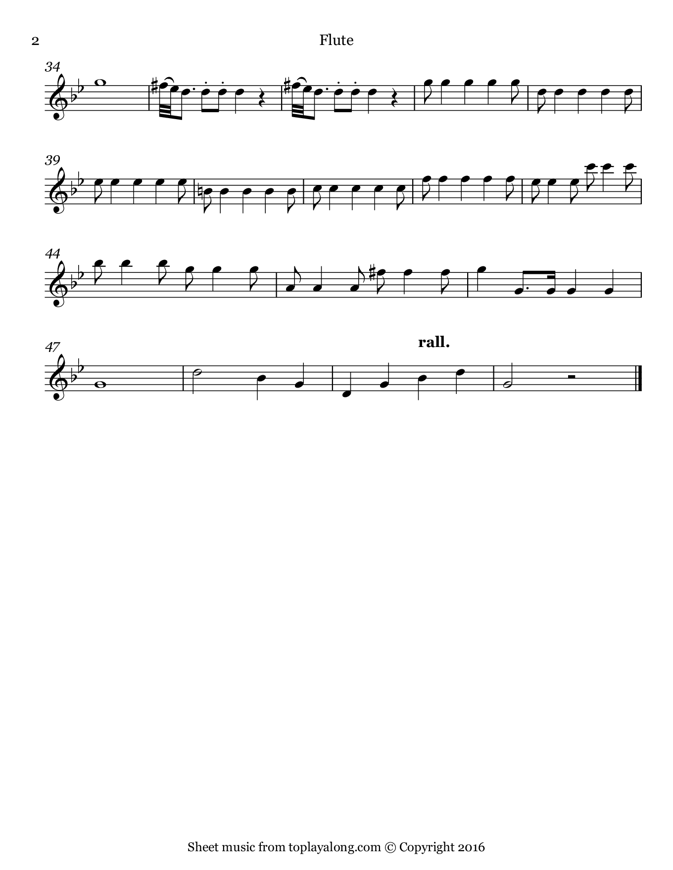 Symphony No. 25 in G minor K. 183 (Theme) by Mozart. Sheet music for Flute, page 2.
