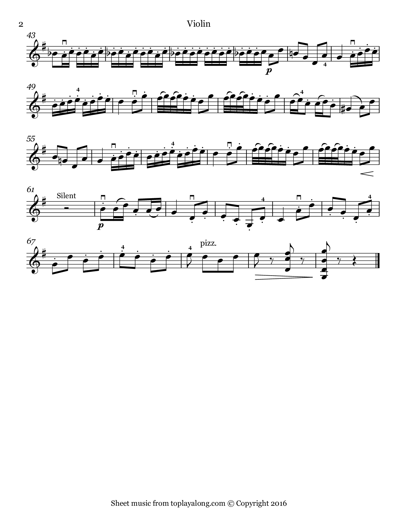 Gavotte from Mignon by Thomas. Sheet music for Violin, page 2.