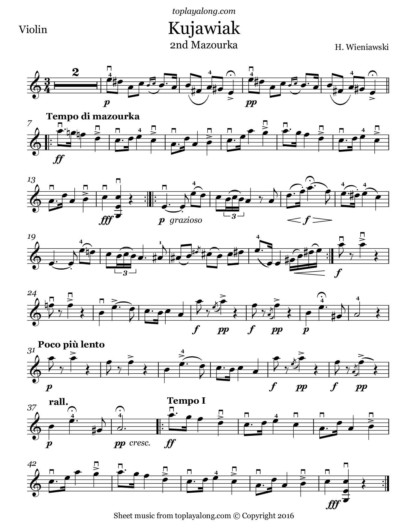 Kujawiak in A minor by Wieniawski. Sheet music for Violin, page 1.