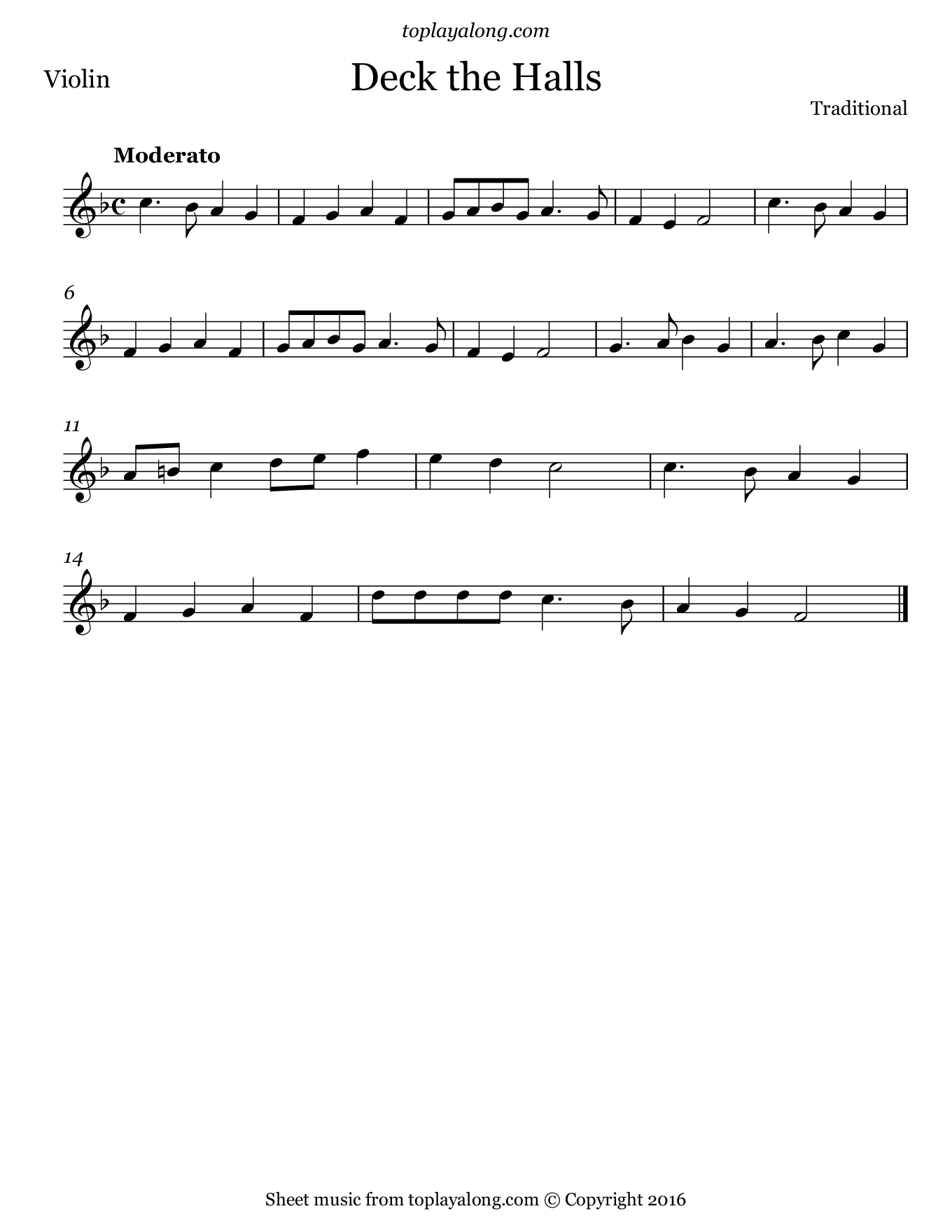 Deck the Halls. Sheet music for Violin, page 1.