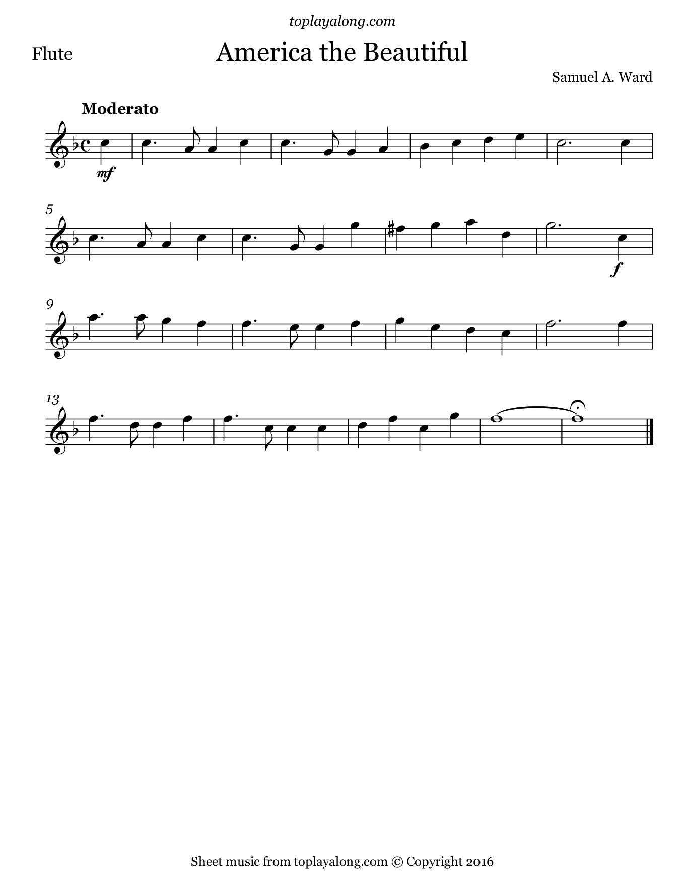America the Beautiful. Sheet music for Flute, page 1.