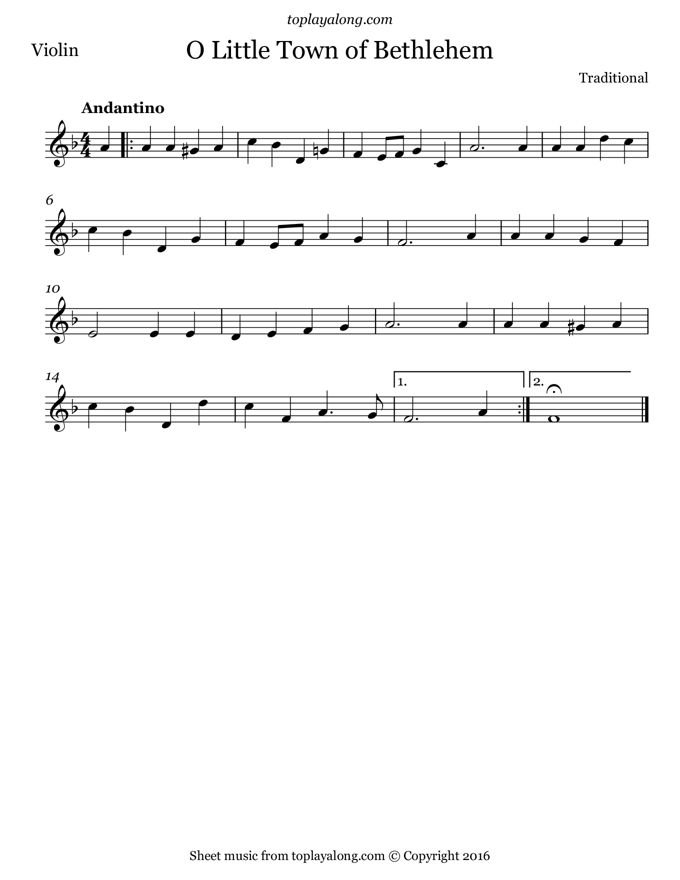 O Little Town of Bethlehem. Sheet music for Violin, page 1.