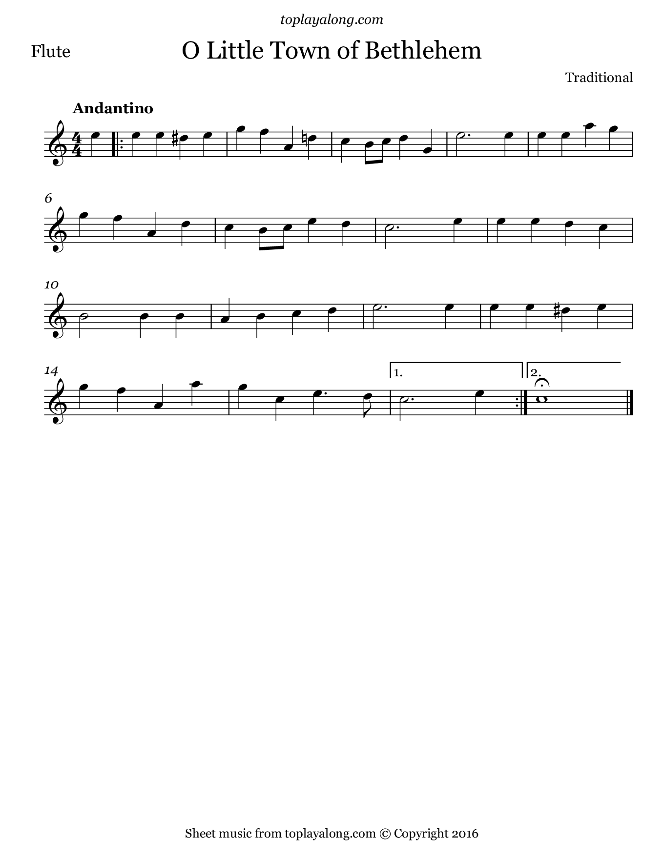 O Little Town of Bethlehem. Sheet music for Flute, page 1.