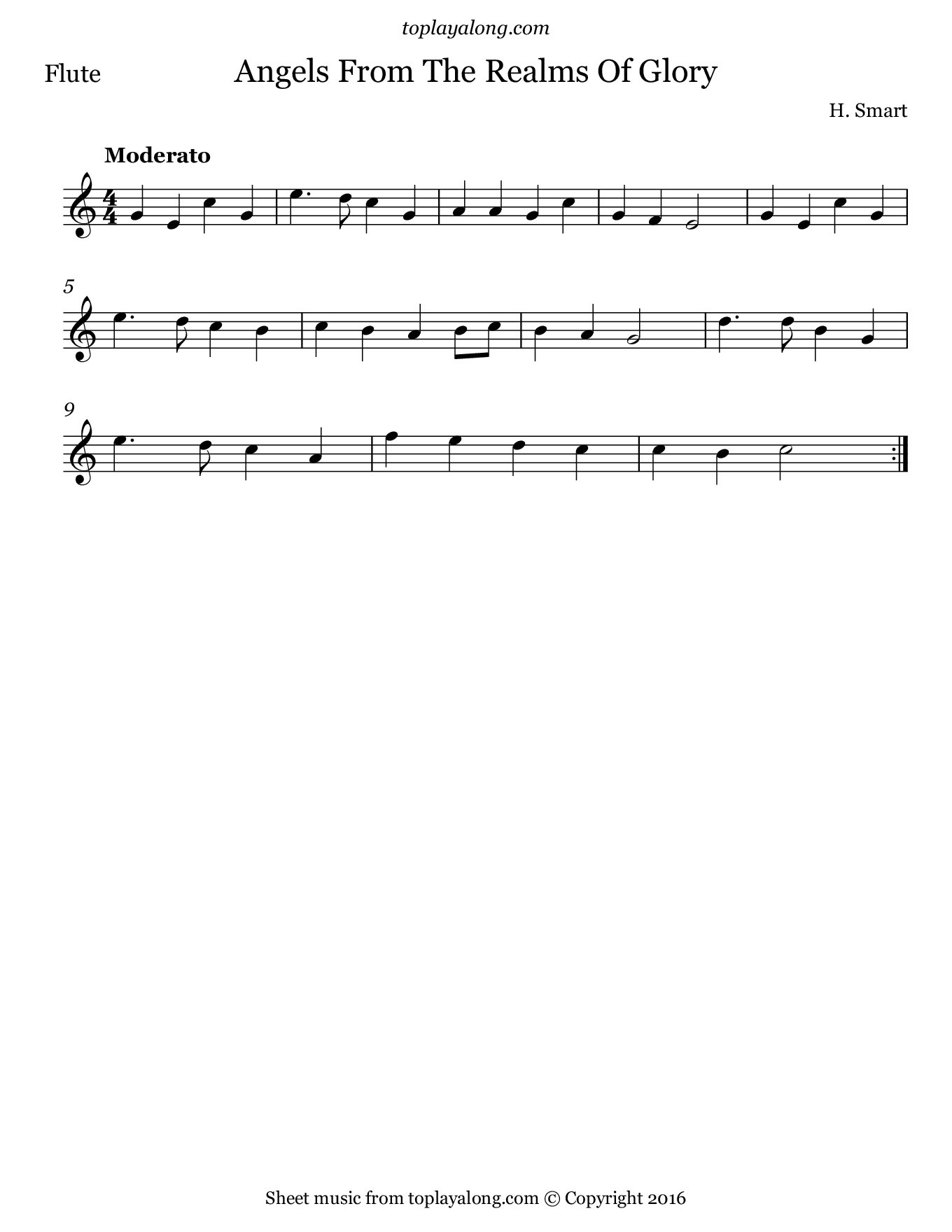 Angels from the Realms of Glory. Sheet music for Flute, page 1.