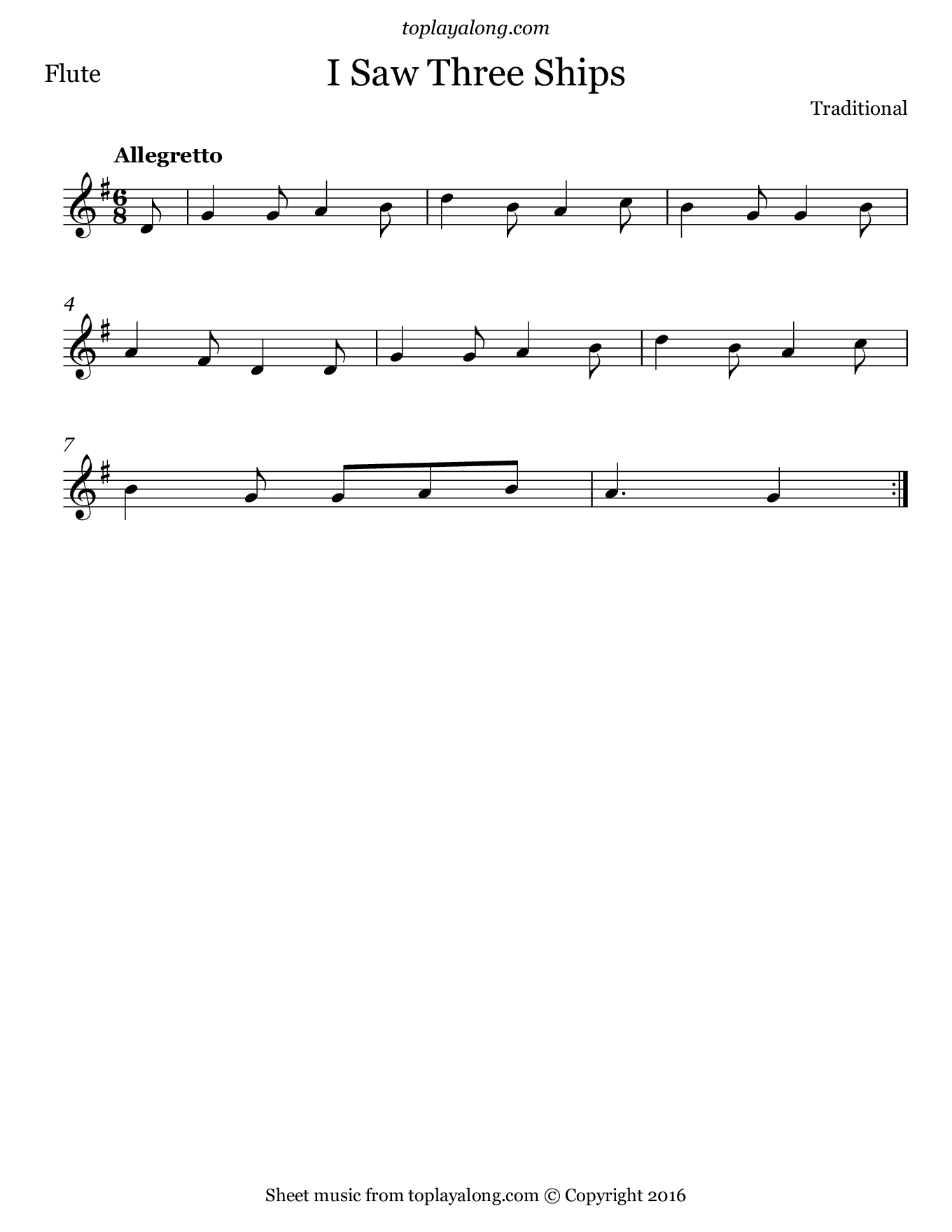 I Saw Three Ships. Sheet music for Flute, page 1.
