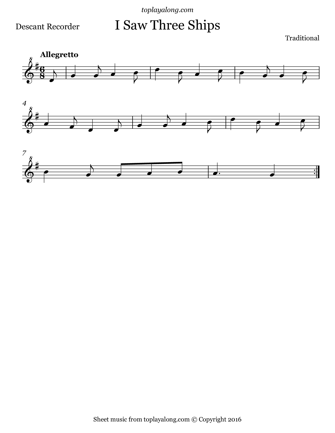 I Saw Three Ships. Sheet music for Recorder, page 1.