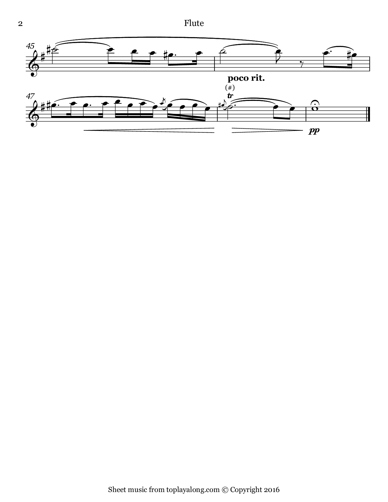 Amarilli, mia bella by Caccini. Sheet music for Flute, page 2.