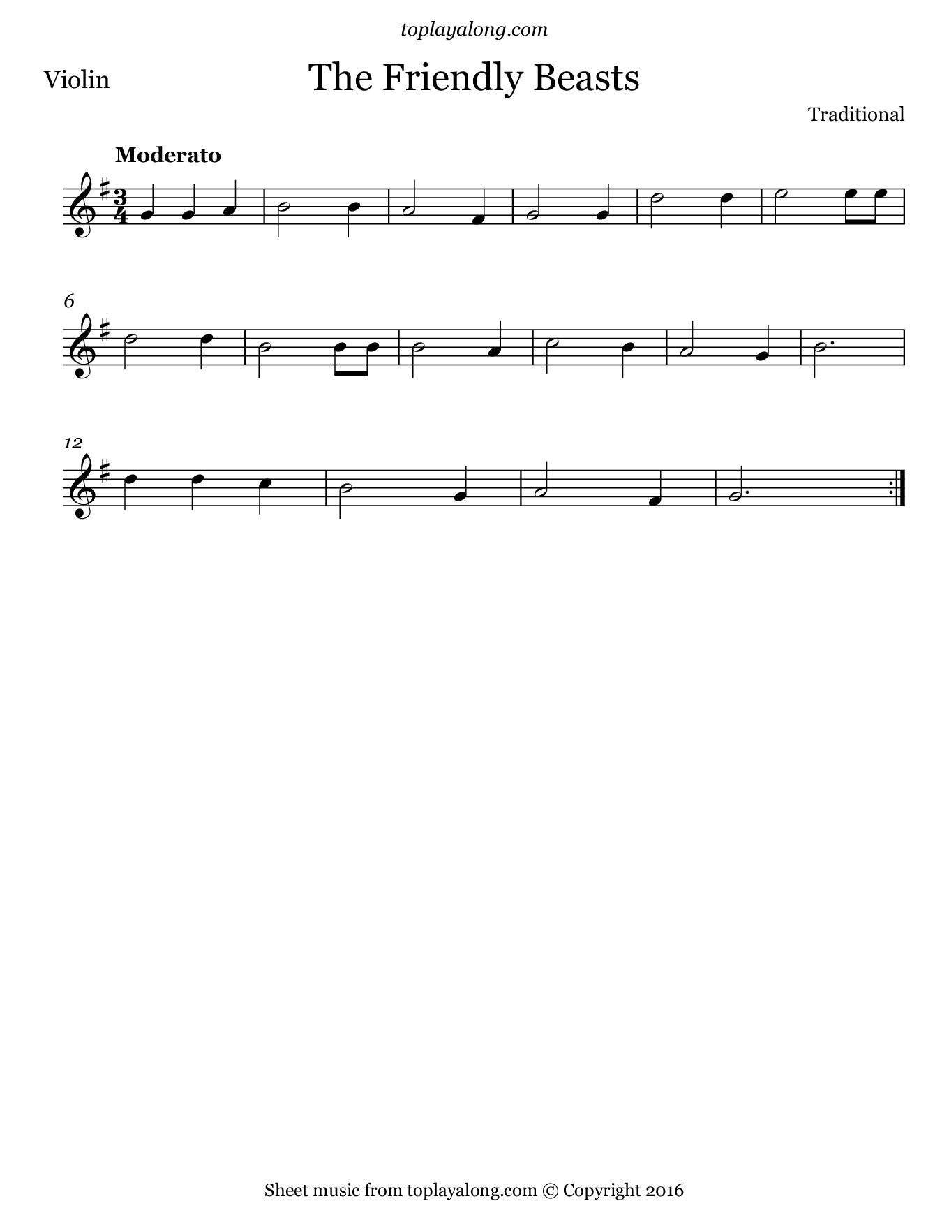 The Friendly Beasts. Sheet music for Violin, page 1.