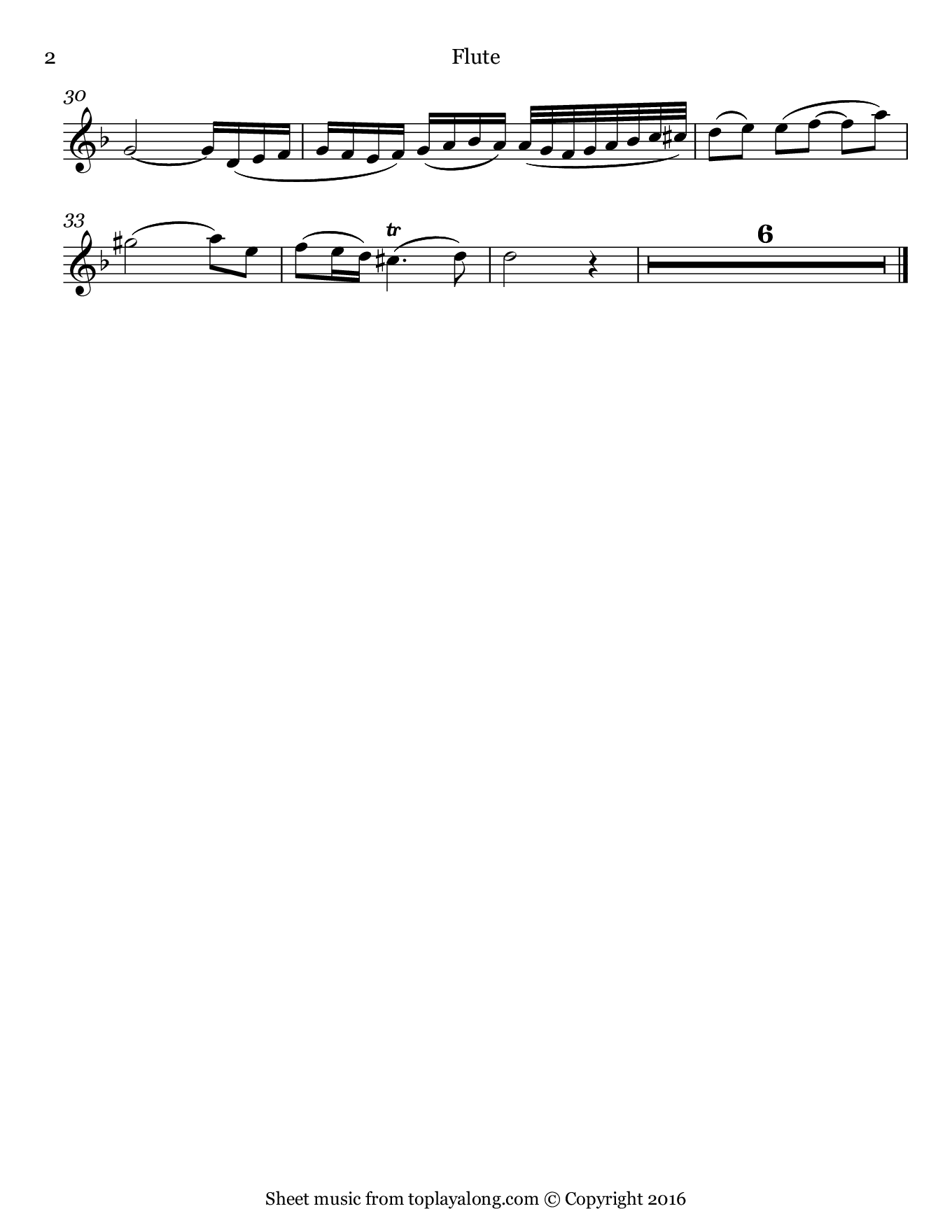 Oboe Concerto in D minor (II. Adagio) by Marcello. Sheet music for Flute, page 2.