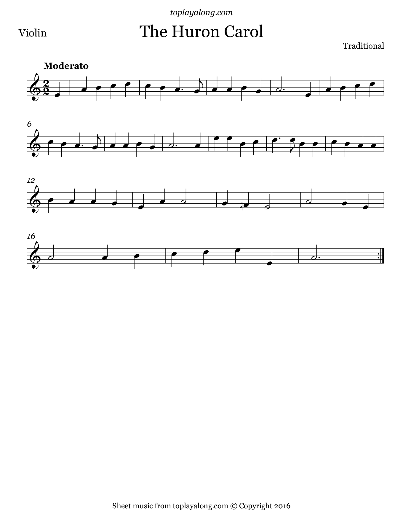 Huron Carol. Sheet music for Violin, page 1.