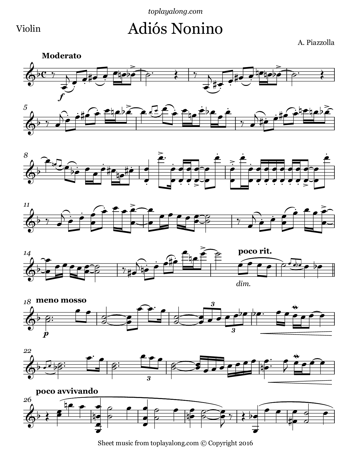 Adiós Nonino by Piazzolla. Sheet music for Violin, page 1.