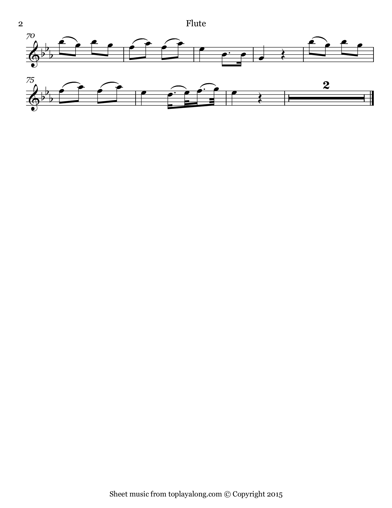 Voi che sapete from The Marriage of Figaro by Mozart. Sheet music for Flute, page 2.