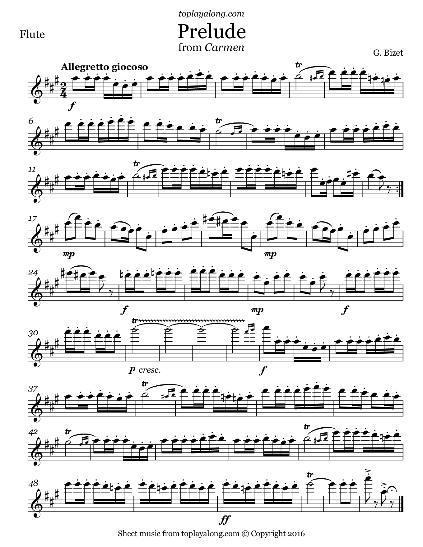Prelude from Carmen by Bizet. Sheet music for Flute, page 1.