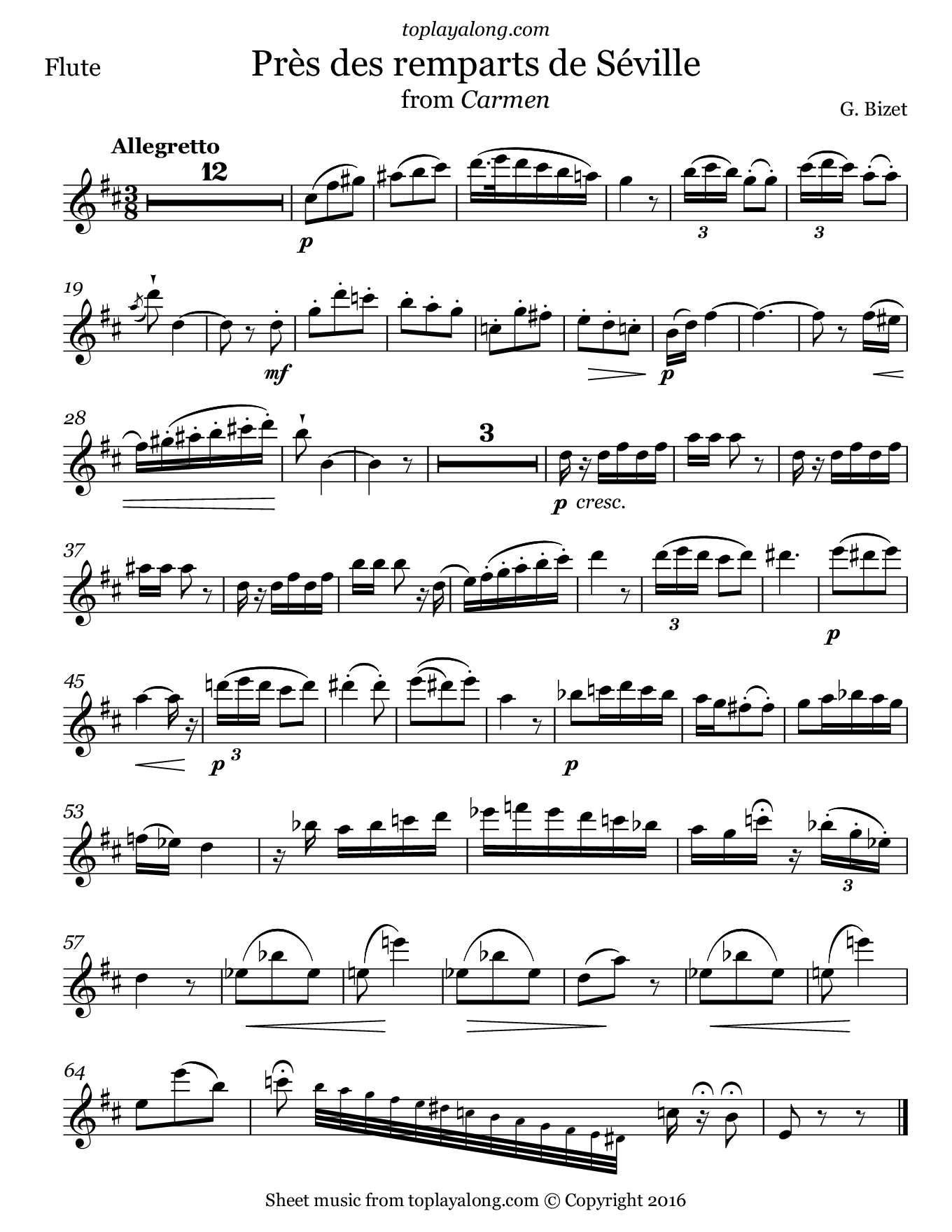 Près des remparts de Séville from Carmen by Bizet. Sheet music for Flute, page 1.
