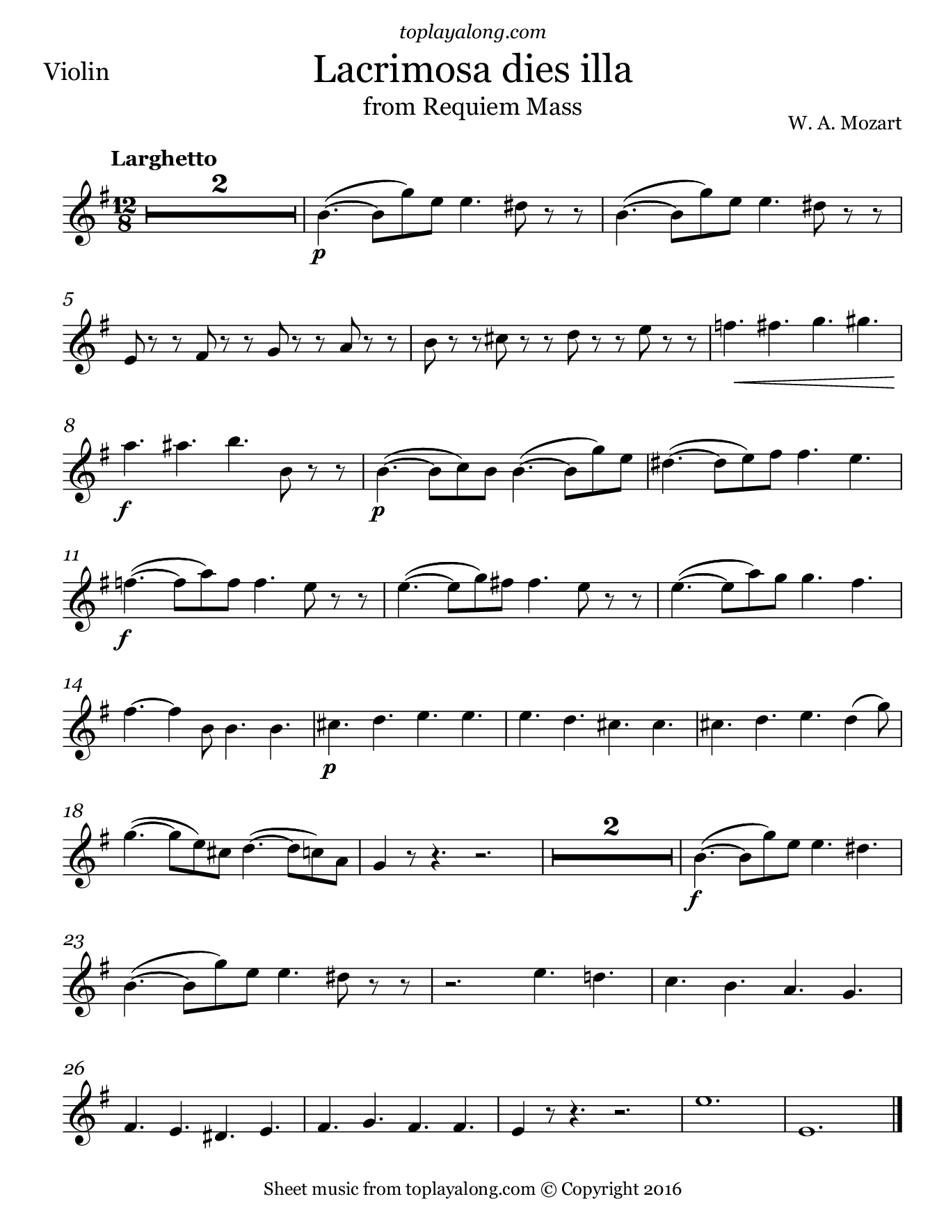 Lacrimosa from Requiem Mass by Mozart. Sheet music for Violin, page 1.