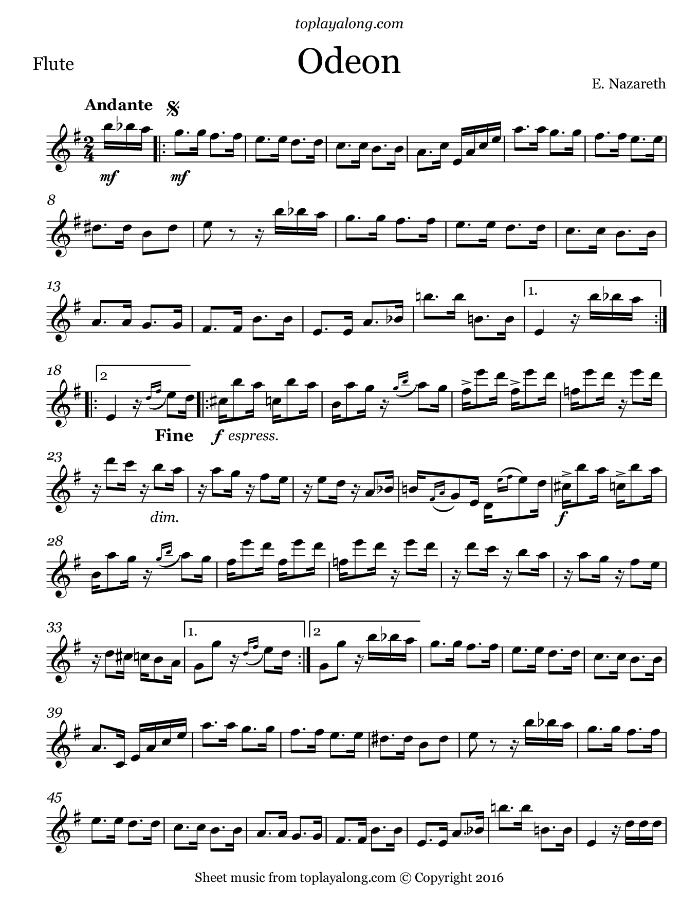 Odeon by Nazareth. Sheet music for Flute, page 1.