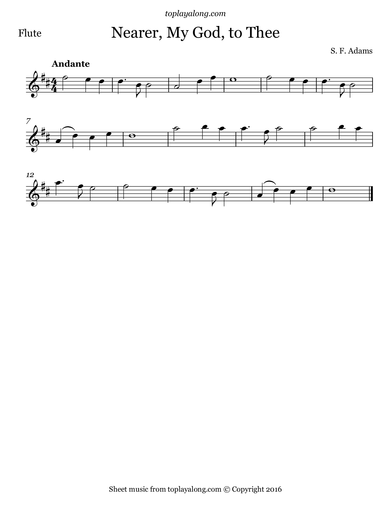 Nearer, My God, to Thee. Sheet music for Flute, page 1.