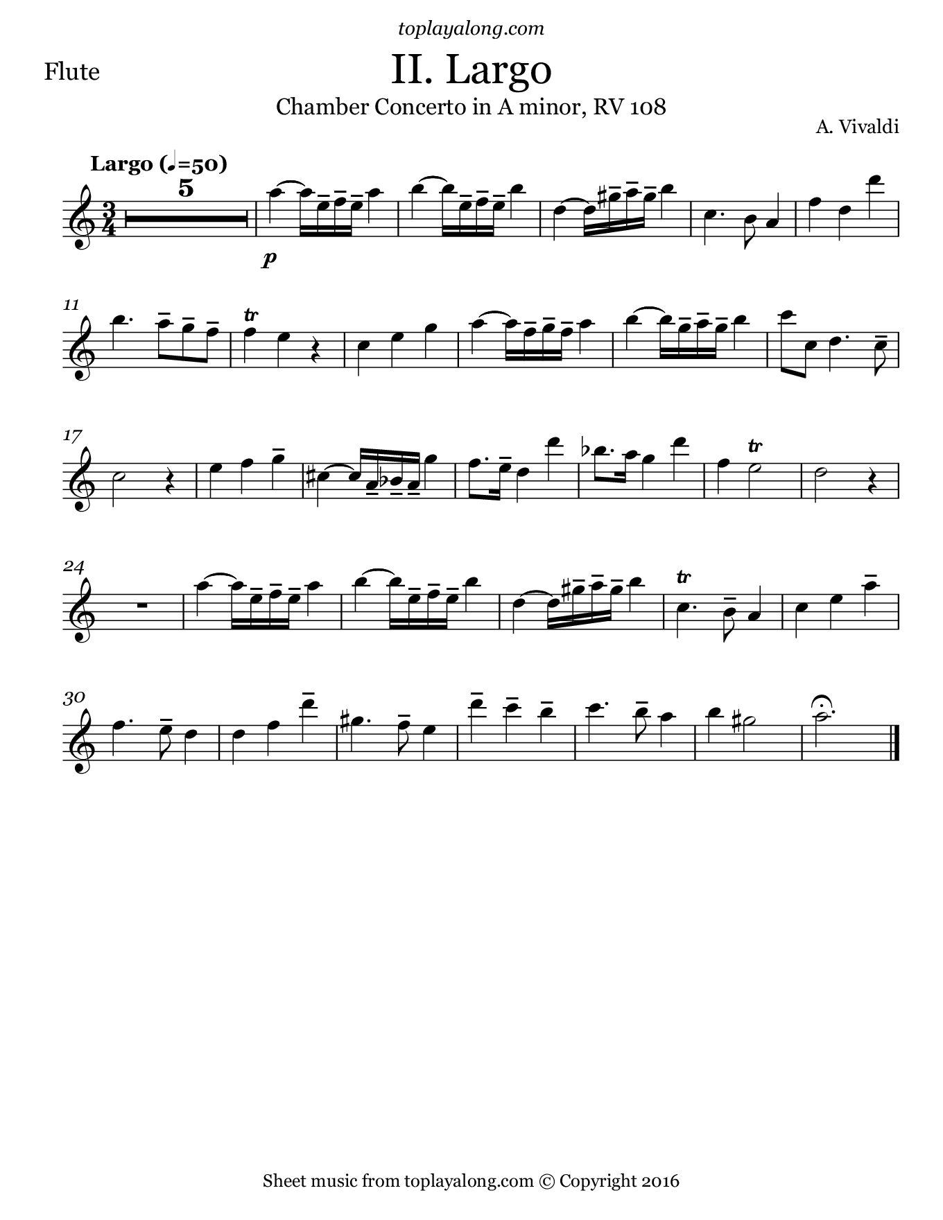 Chamber Concerto in A minor (II. Largo) by Vivaldi. Sheet music for Flute, page 1.
