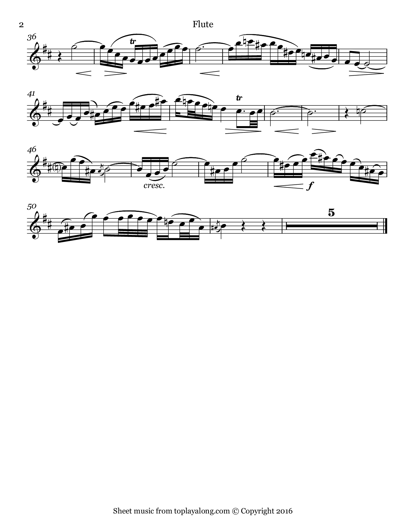 Easter Oratorio (II. Adagio) by J. S. Bach. Sheet music for Flute, page 2.