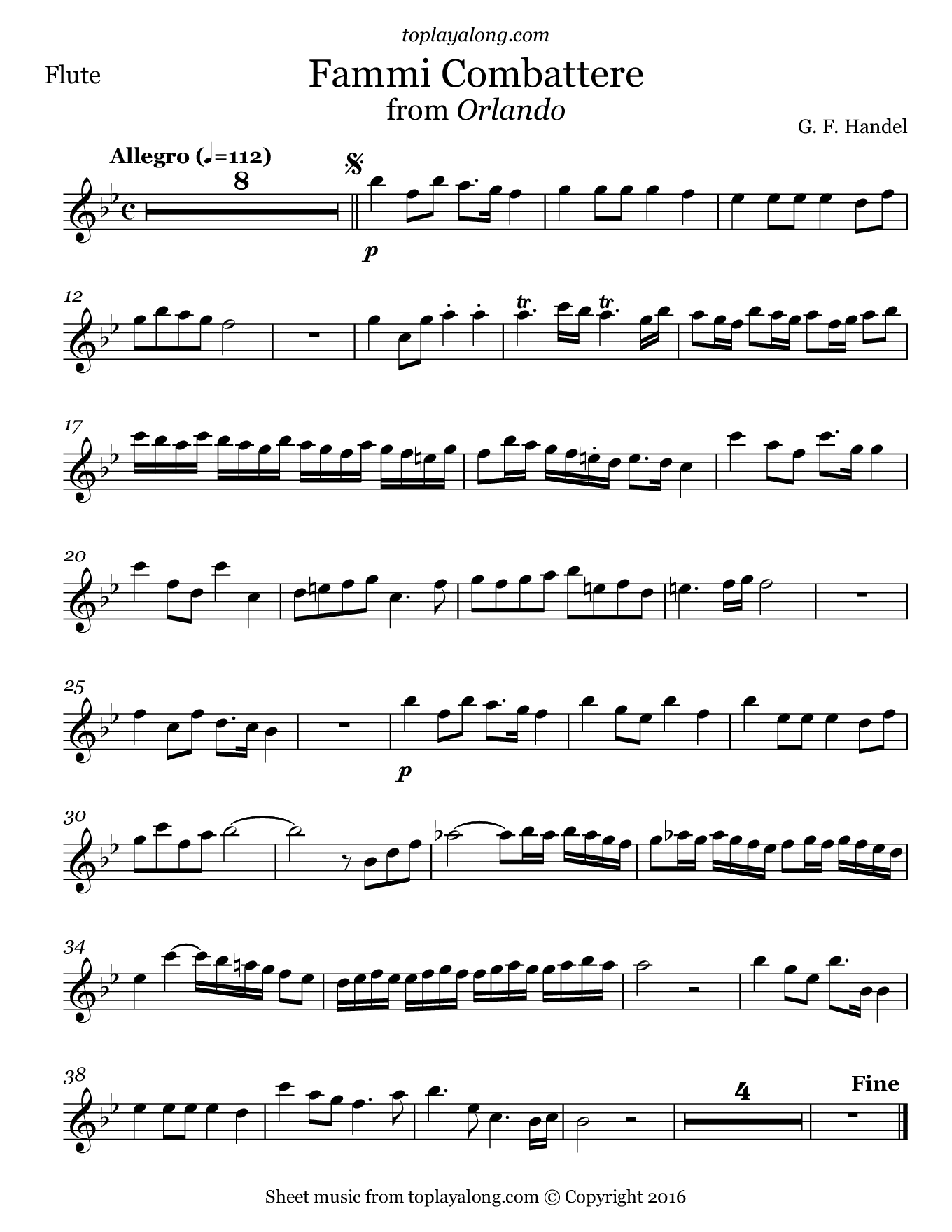 Fammi Combattere from Orlando by Handel. Sheet music for Flute, page 1.