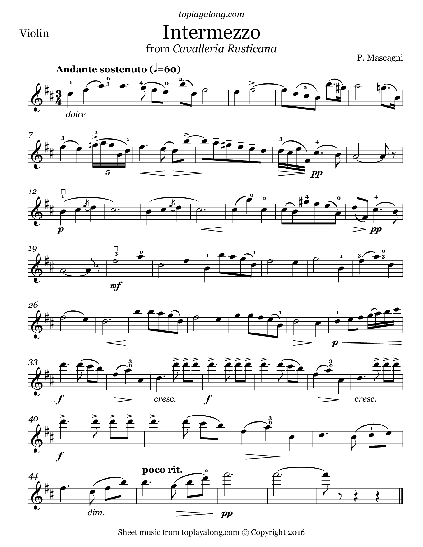 Intermezzo from Cavalleria Rusticana by Mascagni. Sheet music for Violin, page 1.