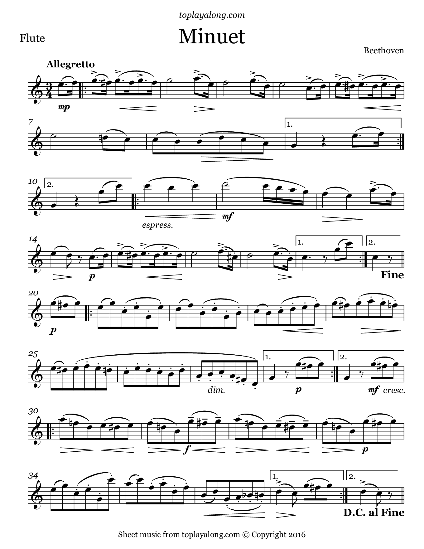 Minuet by Beethoven. Sheet music for Flute, page 1.