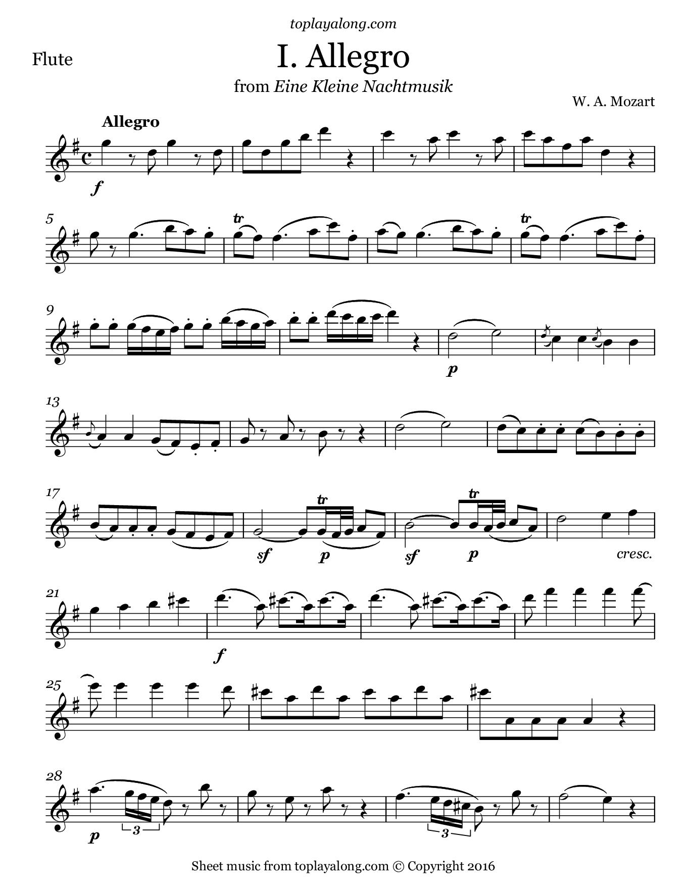Eine Kleine Nachtmusik (I. Allegro) by Mozart. Sheet music for Flute, page 1.