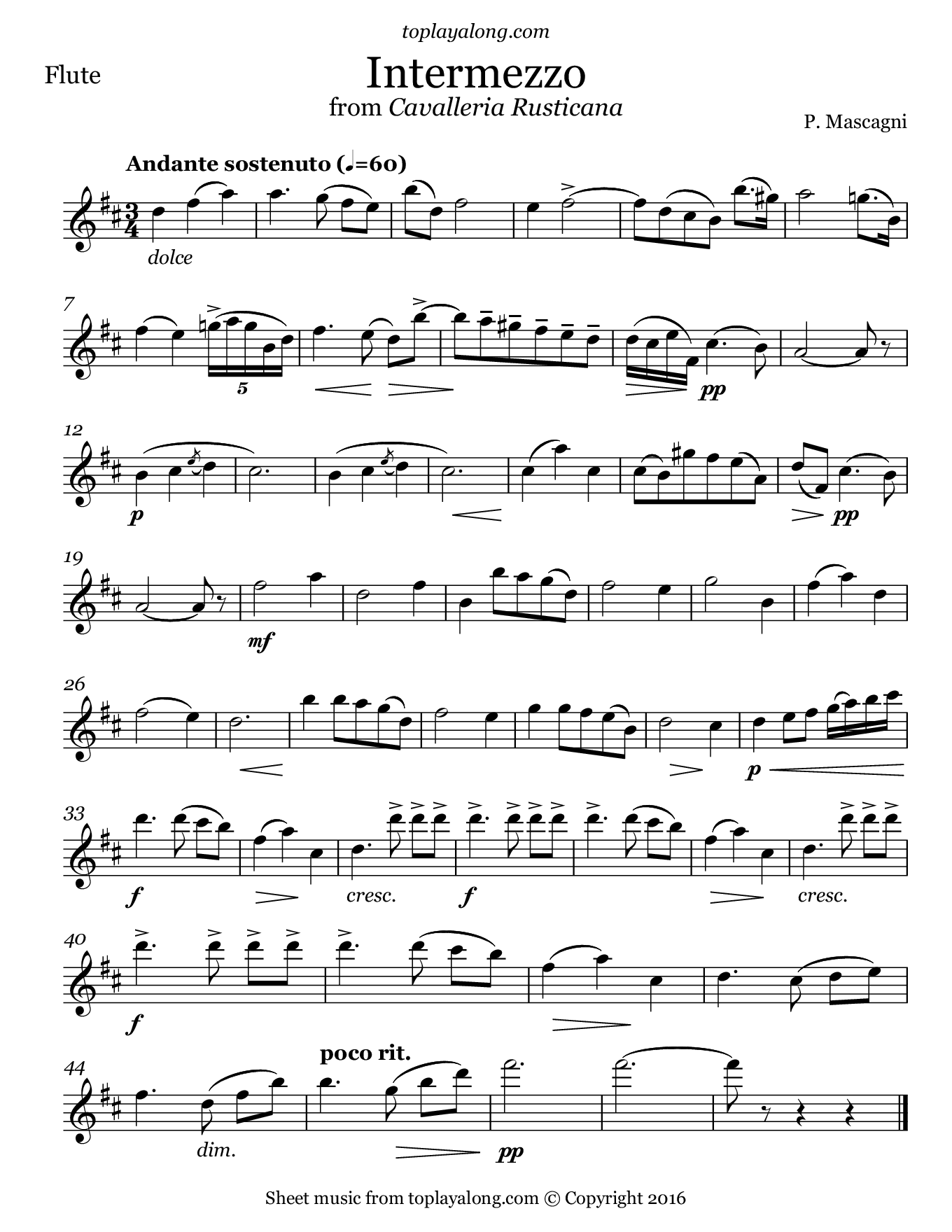 Intermezzo from Cavalleria Rusticana by Mascagni. Sheet music for Flute, page 1.