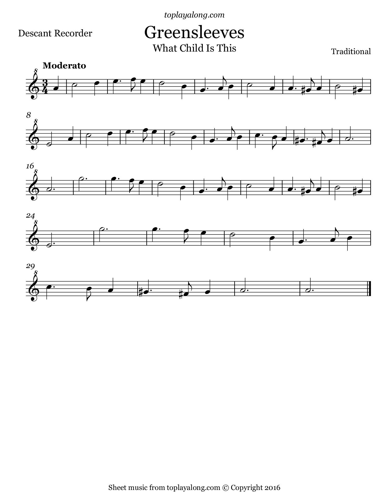 Greensleeves. Sheet music for Recorder, page 1.