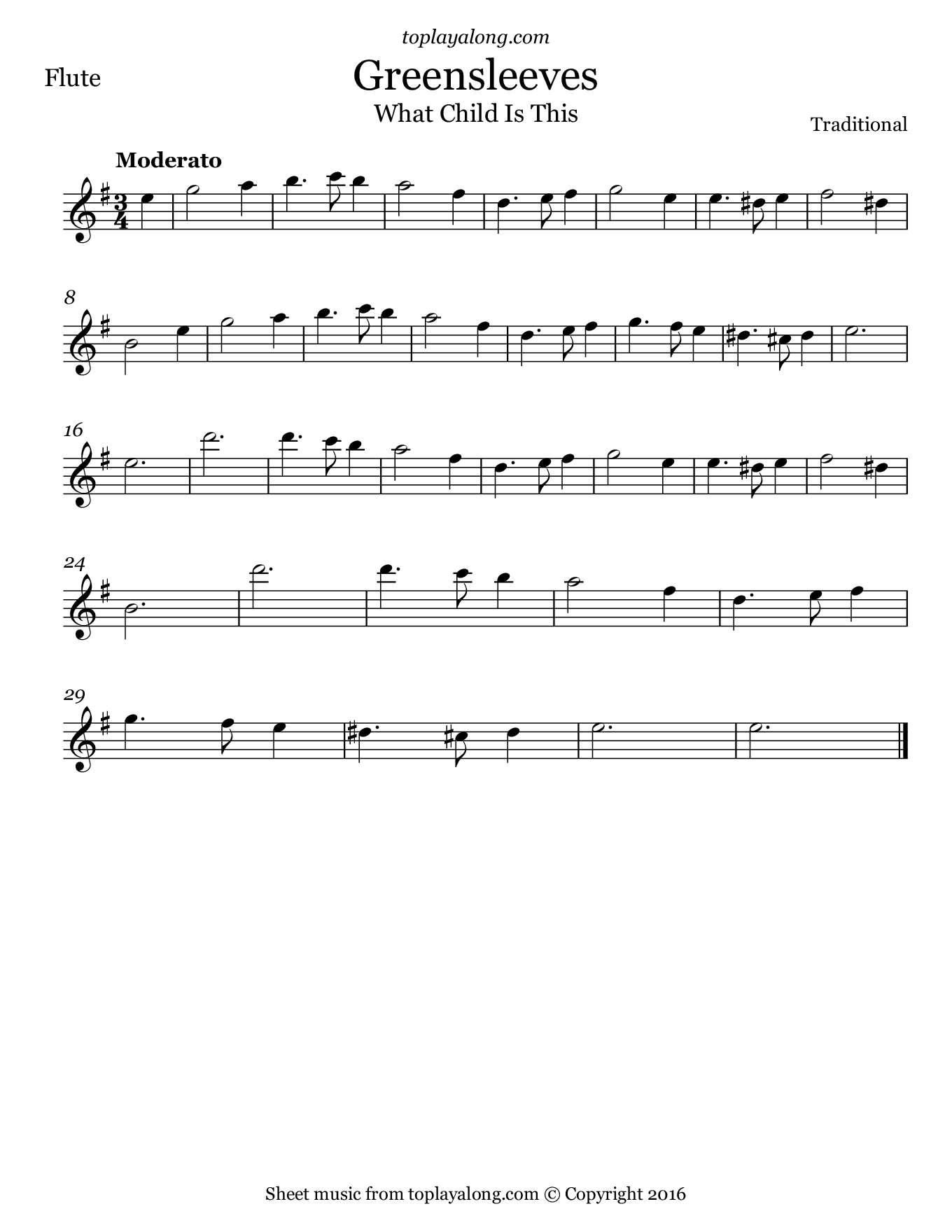 Greensleeves. Sheet music for Flute, page 1.